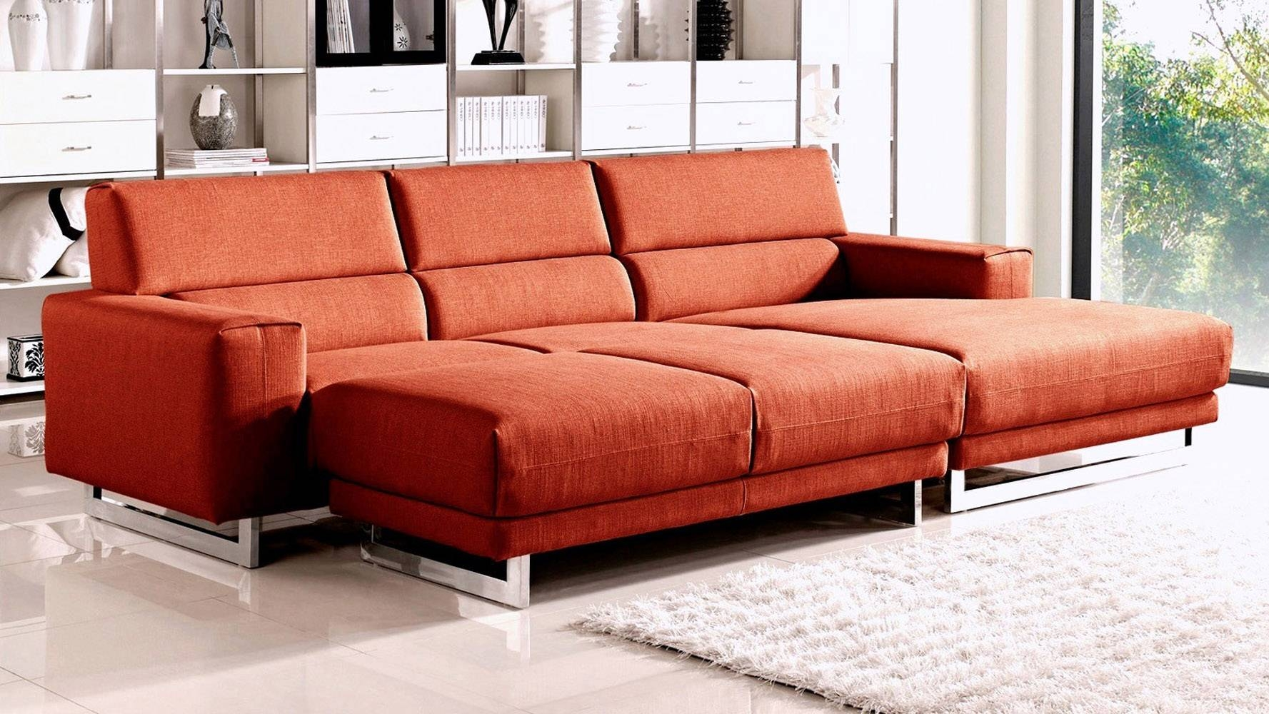 Fabric Diva Sectional Sofa With Sleeper Ottoman | Zuri Furniture with regard to Red Sectional Sleeper Sofas (Image 7 of 30)