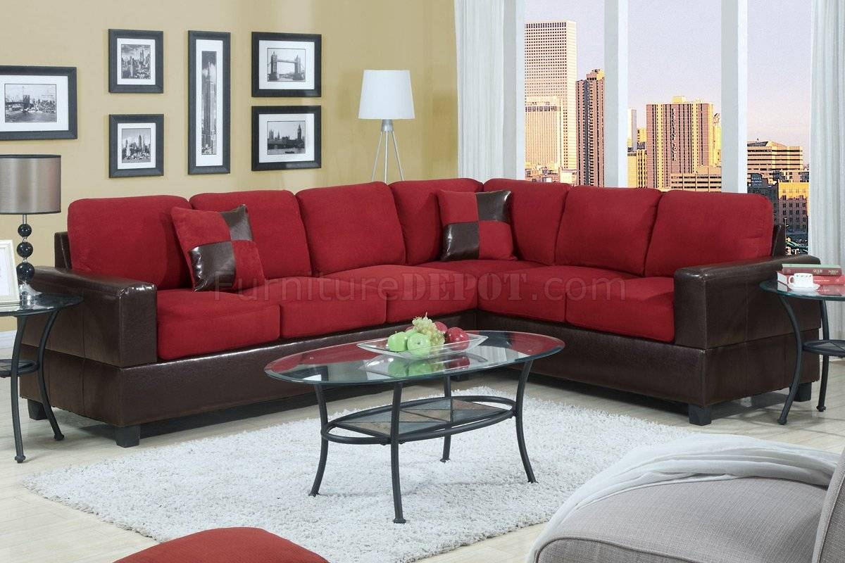 Fabric Sectionals - Microfiber Sectional Sofas, Microsuede with regard to Red Microfiber Sectional Sofas (Image 4 of 30)