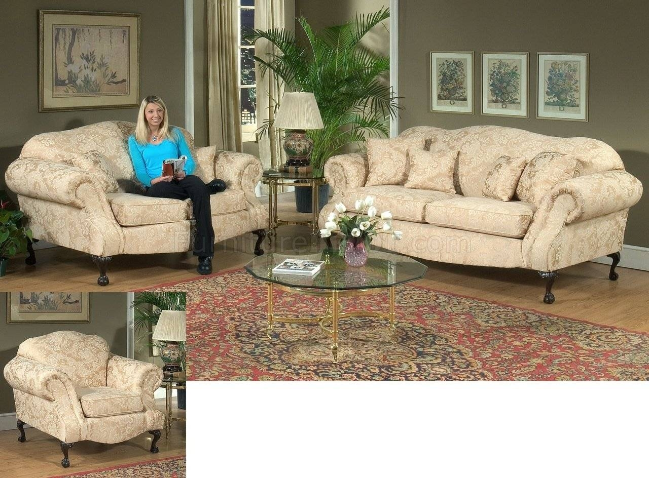Fabric Traditional Sofa & Loveseat Set W/optional Chair intended for Traditional Sofas and Chairs (Image 3 of 15)