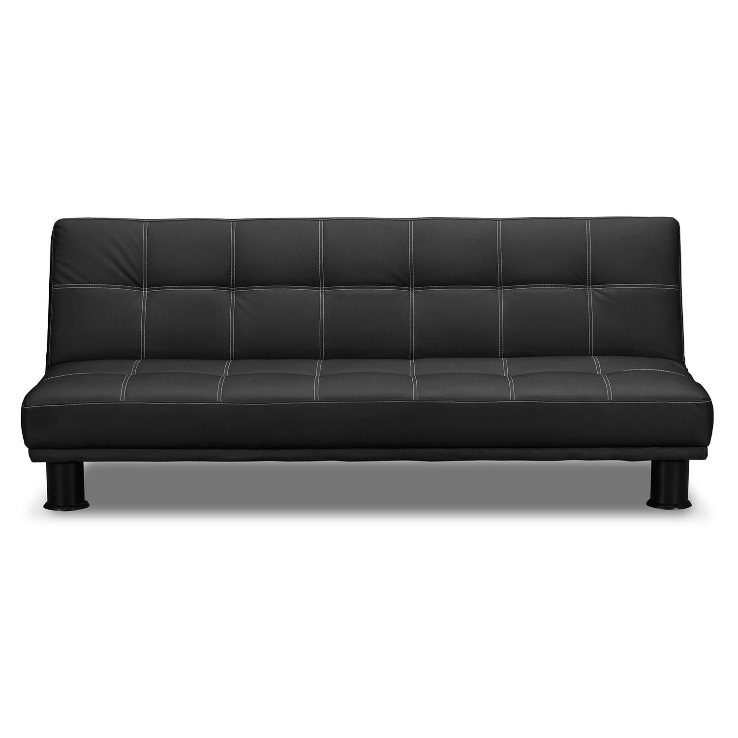 Fabulous Black Leather Futon Sofa Bed Futons Living Room Seating Inside City Sofa Beds (View 7 of 30)