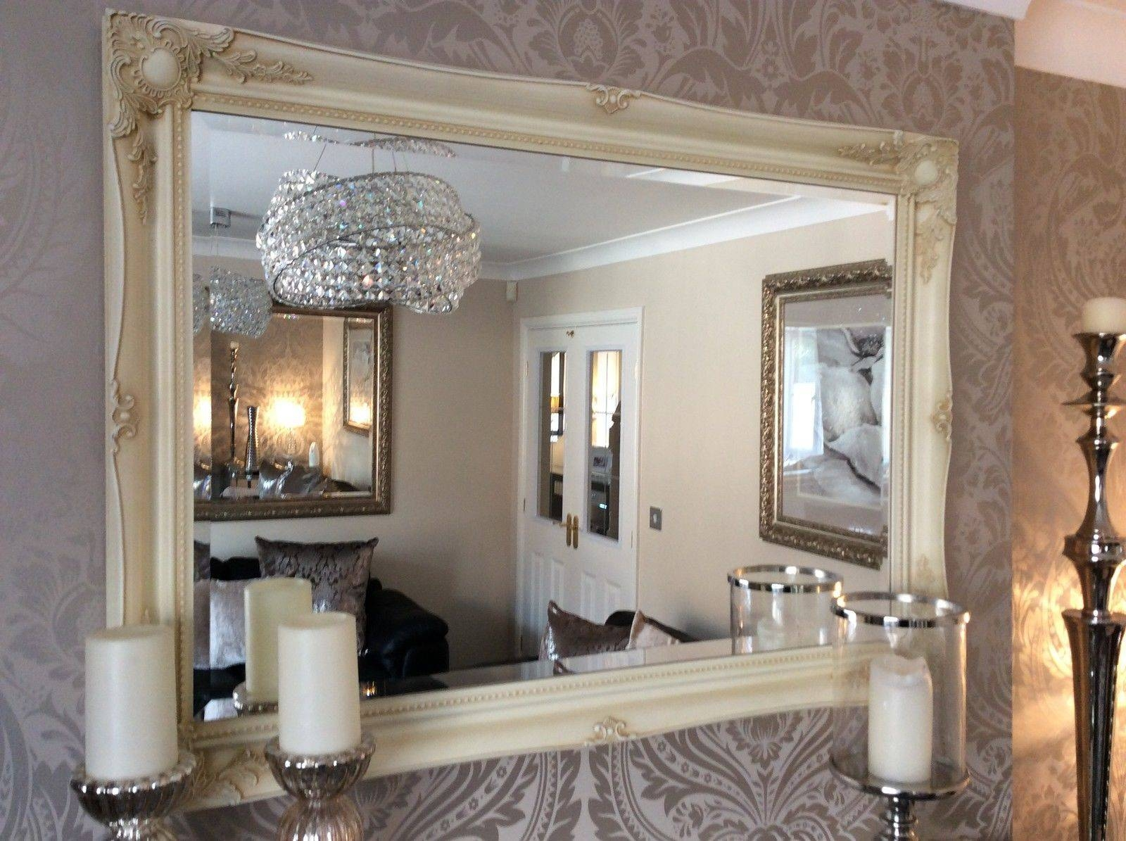 Fabulous Large Cream Decorative Stunning Shabby Chic Wall Mirror Inside Shabby Chic Large Mirrors (View 5 of 25)