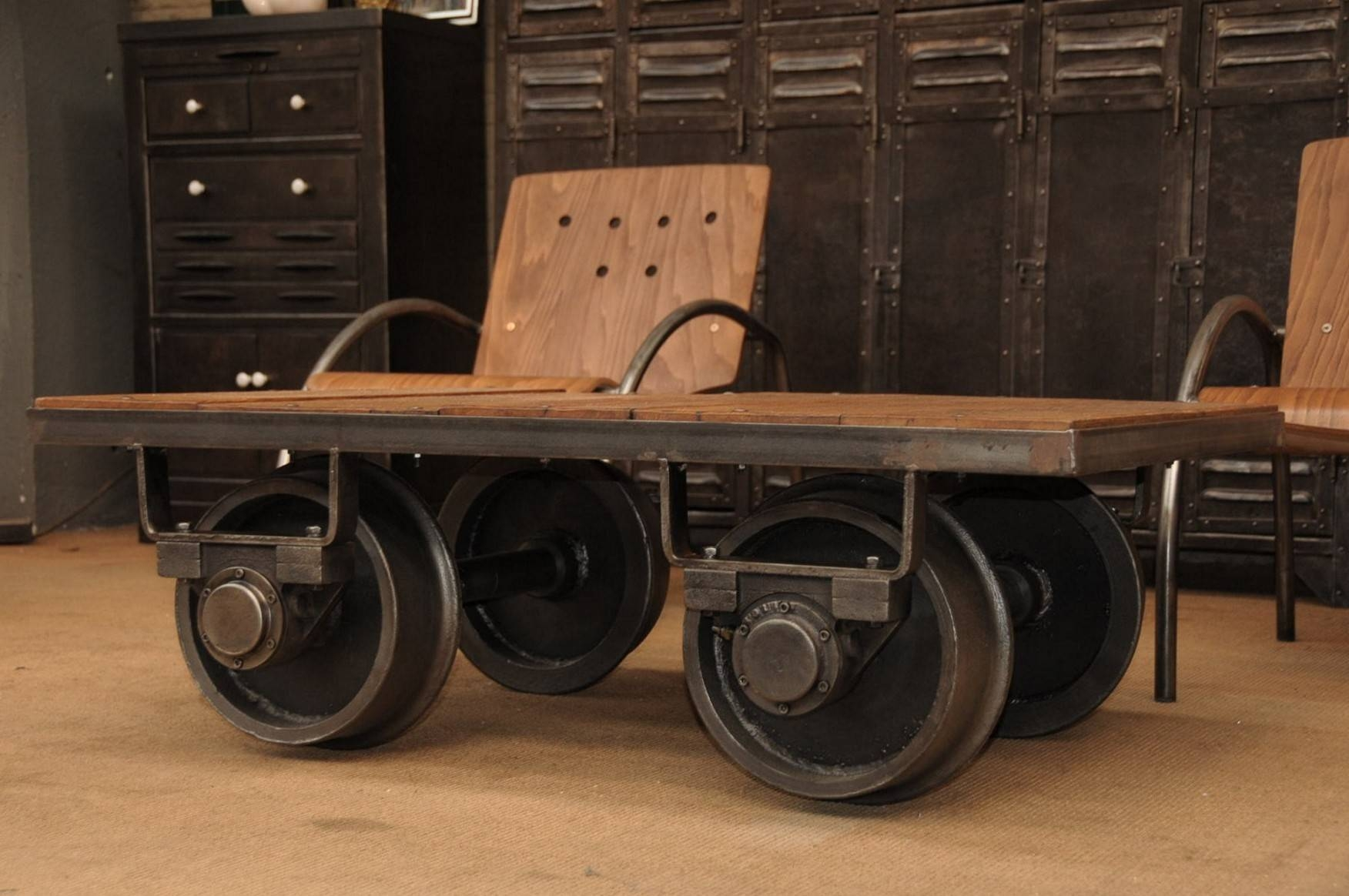 Factory Cart Coffee Table Wheels with regard to Coffee Tables With Wheels (Image 19 of 30)