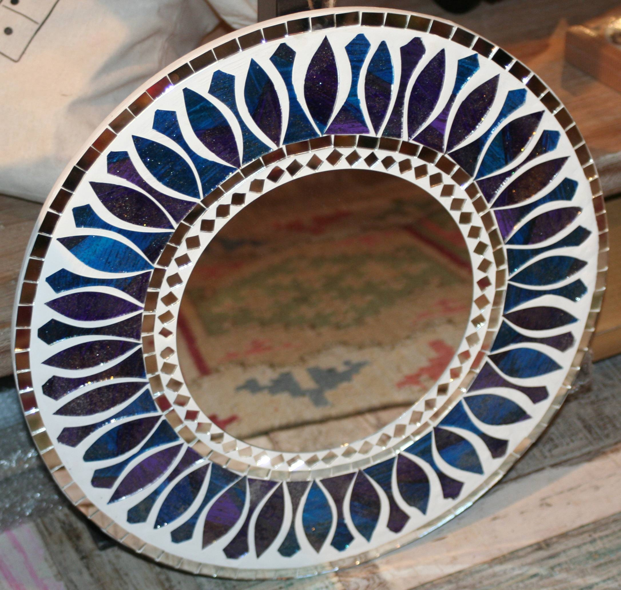 Fair Trade Round Mosaic Mirror - Blue & Purple - Second Nature Online for Mosaic Mirrors (Image 6 of 25)