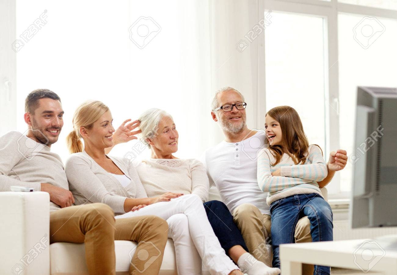 Family, Happiness, Generation And People Concept - Happy Family throughout Family Sofa (Image 17 of 30)