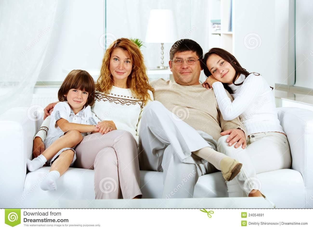 Family On Sofa Stock Image - Image: 24054691 throughout Family Sofa (Image 6 of 30)