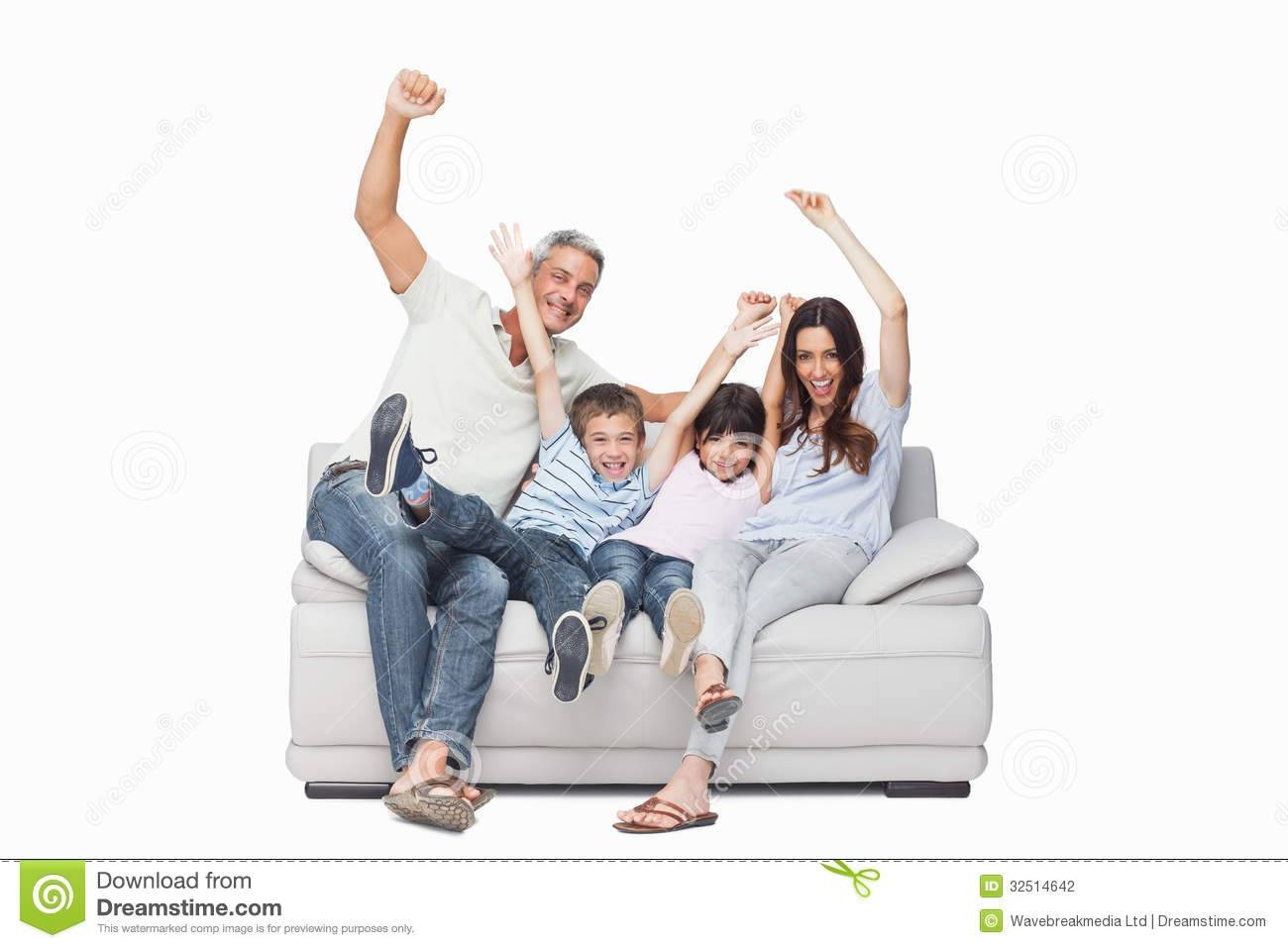 Family Sitting On Sofa Raising Their Arms Stock Photography throughout Family Sofa (Image 8 of 30)