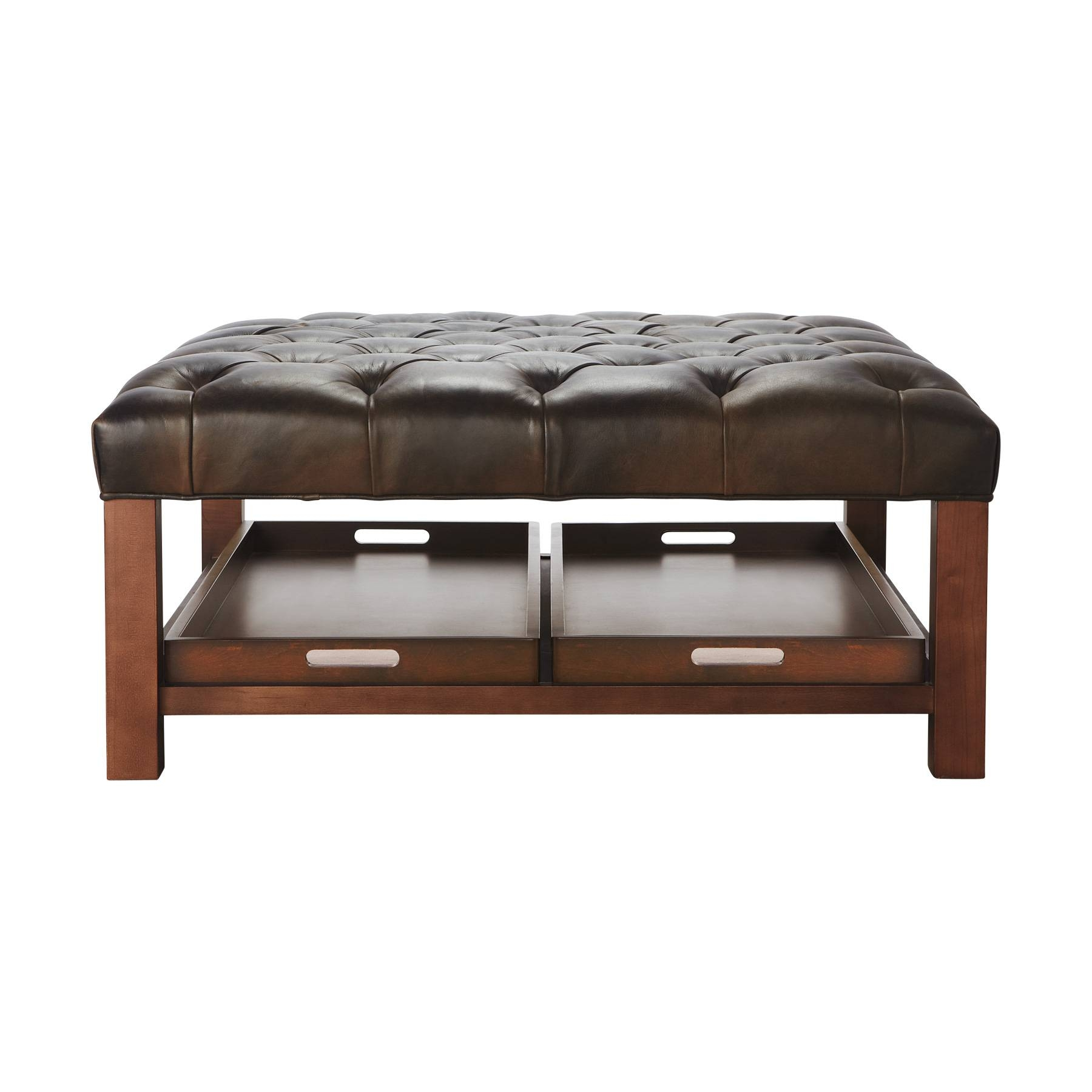 Fancy Modern Leather Ottoman Coffee Table With Shelves And Wooden inside Coffee Tables With Shelves (Image 17 of 30)