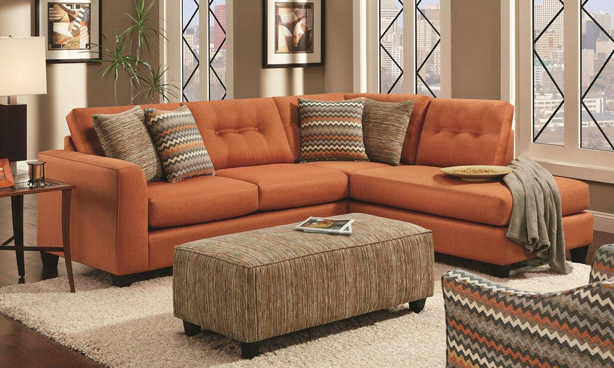 Fandango Flame Sectional Sofa | Haynes Furniture, Virginia's Inside Orange Sectional Sofa (View 21 of 30)