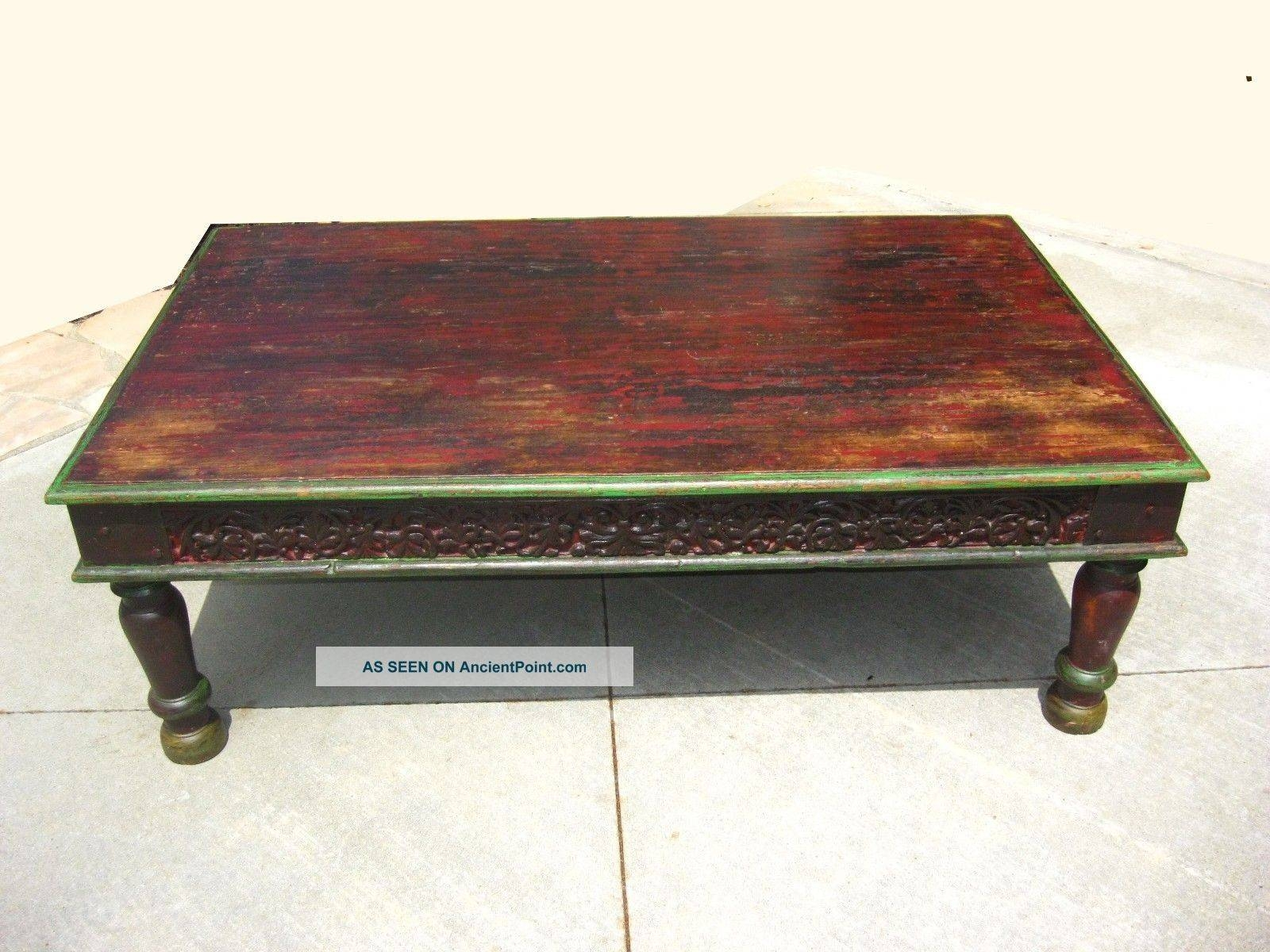 Farmhouse Distressed Reclaimed Wood Rustic Coffee Table Black for Indian Coffee Tables (Image 16 of 30)