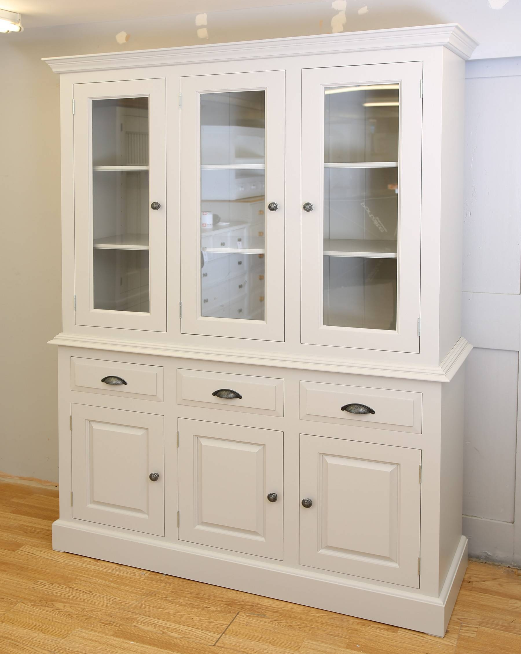 Farrow And Ball Painted 3 Door Glazed Dresser In 3 Sizes intended for Farrow and Ball Painted Wardrobes (Image 10 of 15)