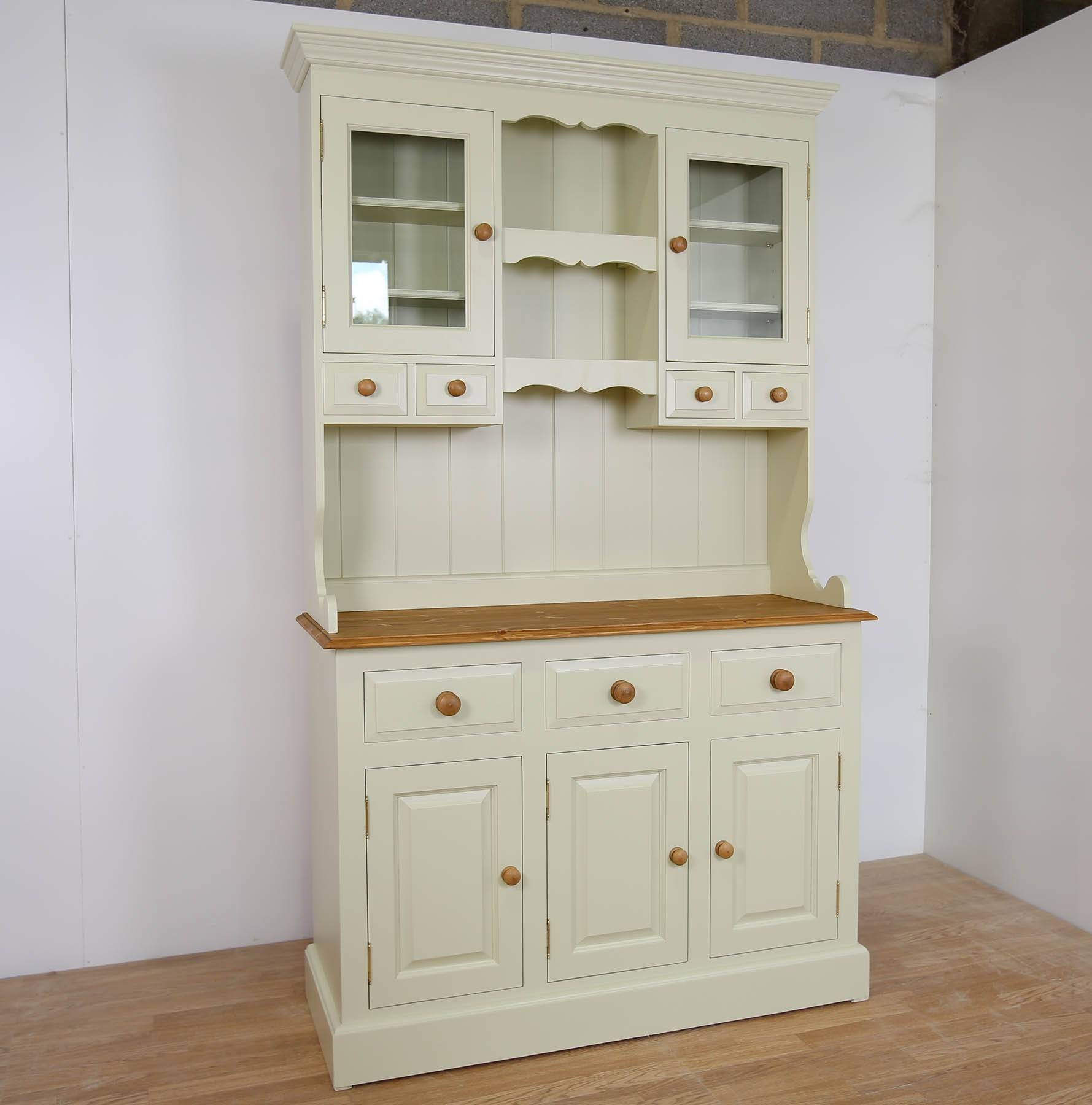 Farrow And Ball Painted 3 Door Part Glazed Dresser In 3 Sizes for Farrow and Ball Painted Wardrobes (Image 11 of 15)