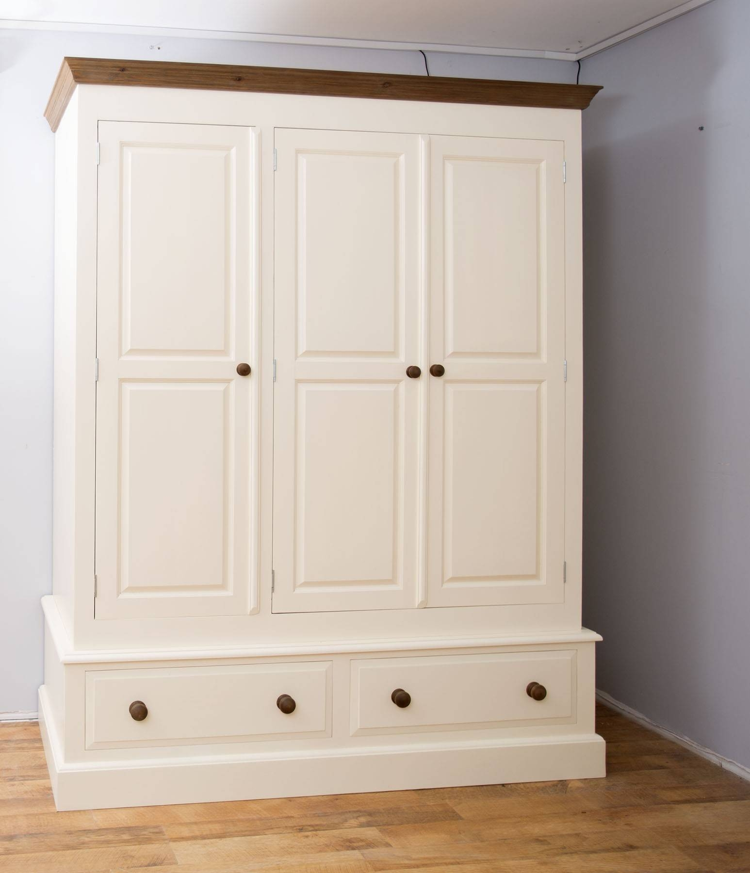 Farrow & Ball Painted 3 Door 5Ft Wardrobe With 3 Option's within 3 Door White Wardrobes (Image 8 of 30)