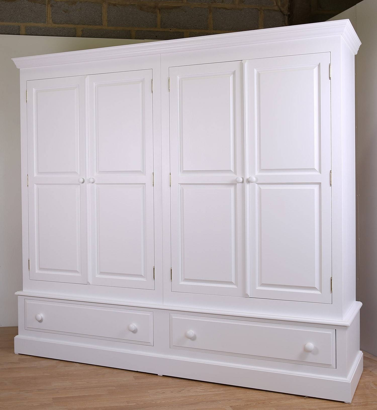 Farrow & Ball Painted 4 Door Wardrobe With Drawers In 3 Sizes inside White Painted Wardrobes (Image 2 of 15)