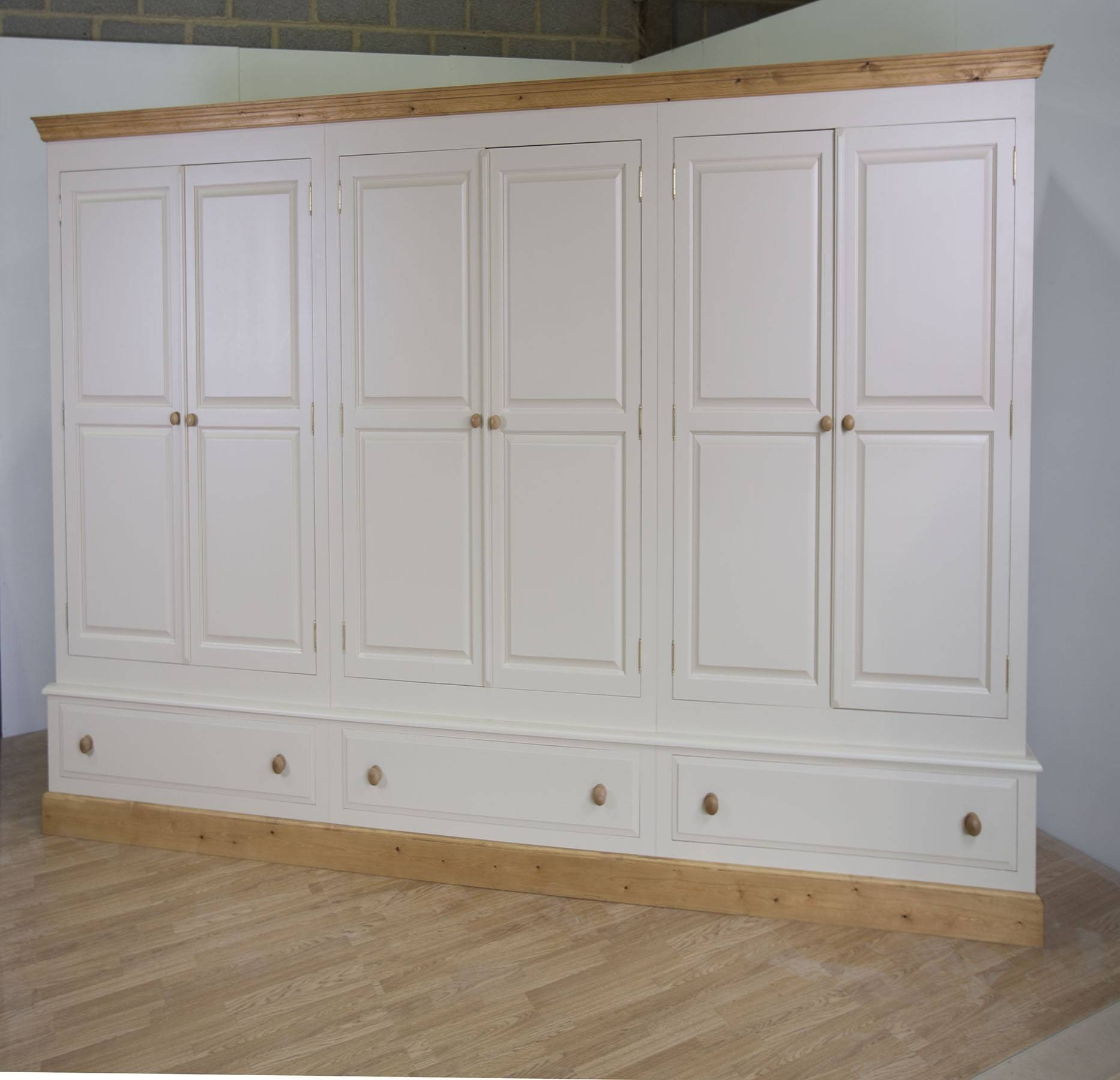 Farrow & Ball Painted Large 6 Door Wardrobe With Drawers inside 6 Door Wardrobes Bedroom Furniture (Image 7 of 15)