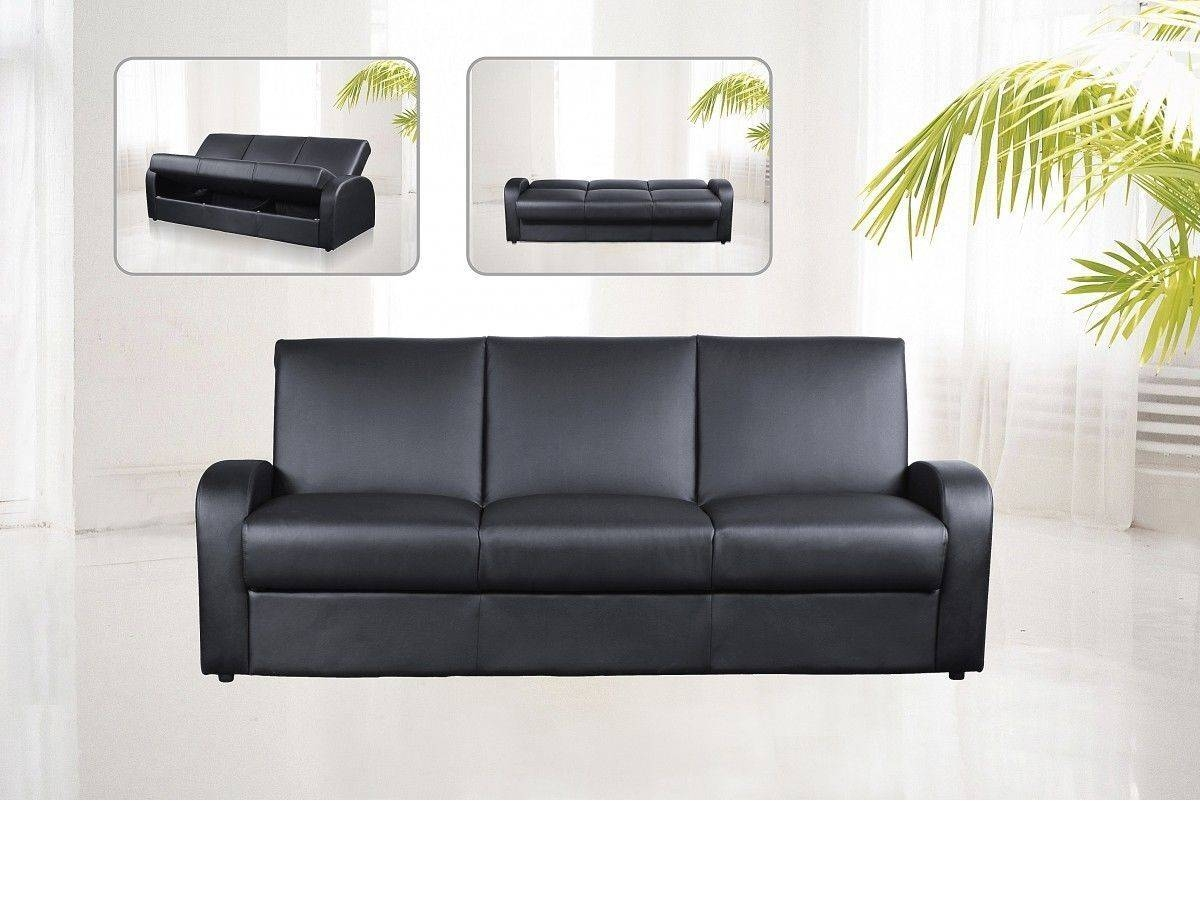 Faux Leather 3 Seater Sofa Bed Black, Brown, Cream - Homegenies inside Leather Sofa Beds With Storage (Image 8 of 30)