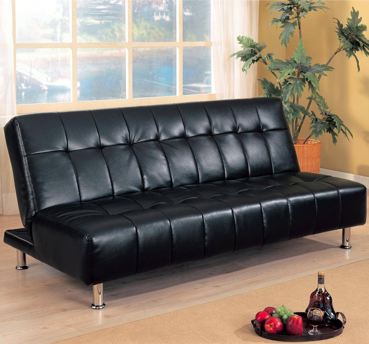 Faux Leather Armless Convertible Sofa Bed | Big City Futon Throughout City Sofa Beds (View 8 of 30)