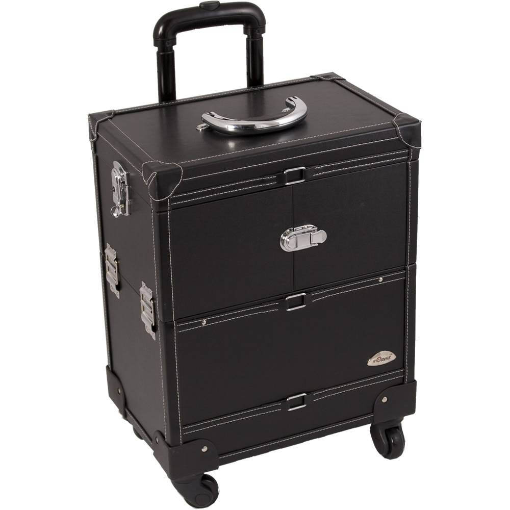 Faux Leather Black Makeup Artist Rolling Trolley Cosmetic Case Regarding Black Faux Leather Mirrors (View 13 of 25)