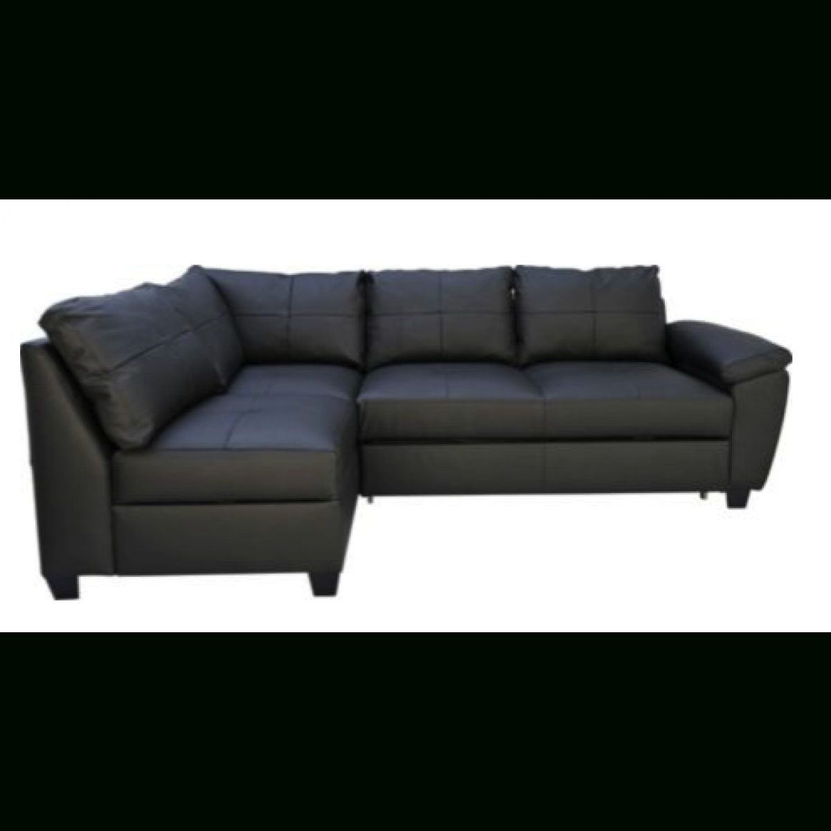 Fernando Leather Left Hand Sofa Bed Corner Group - Black intended for Leather Corner Sofa Bed (Image 12 of 30)
