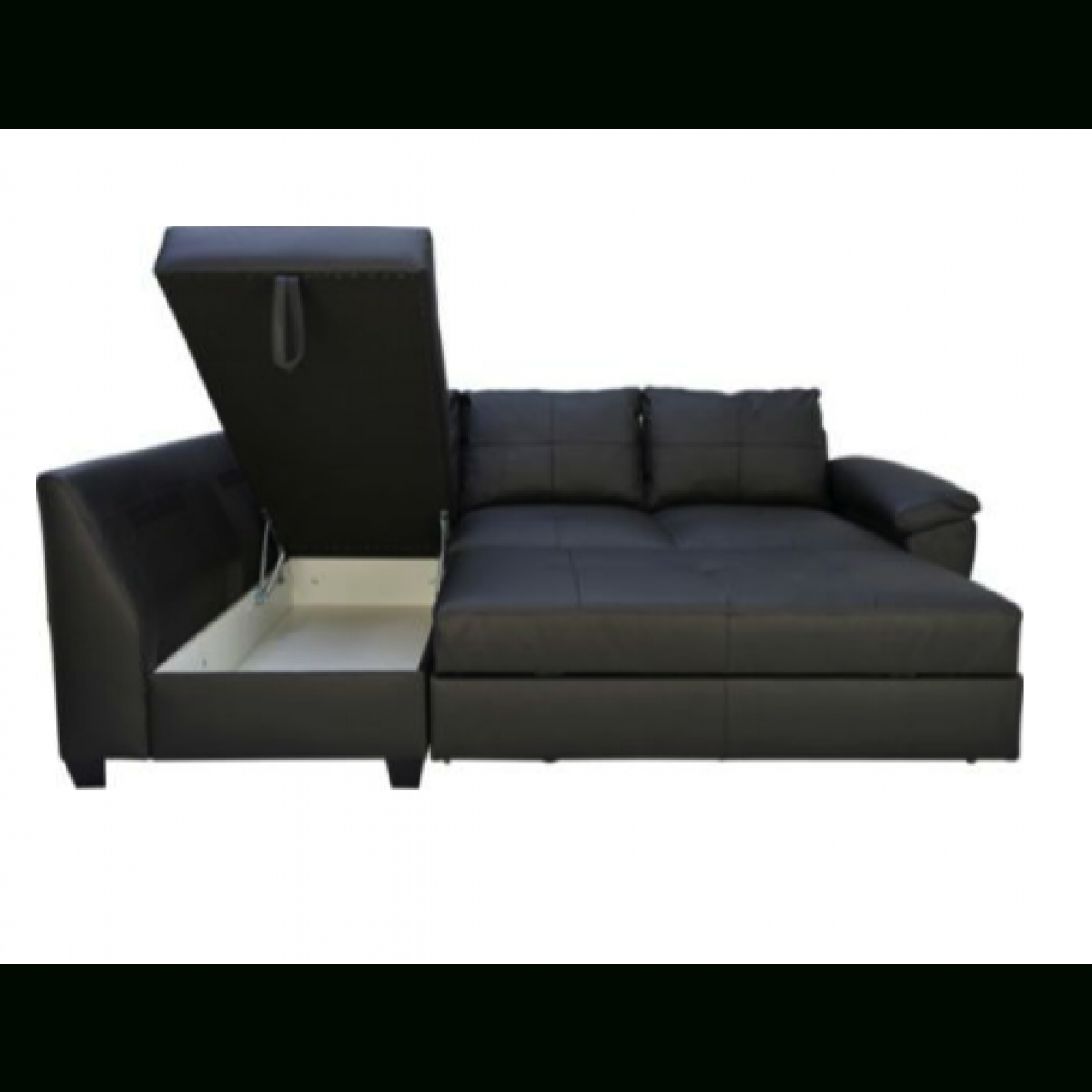 Fernando Leather Left Hand Sofa Bed Corner Group - Black throughout Leather Corner Sofa Bed (Image 13 of 30)