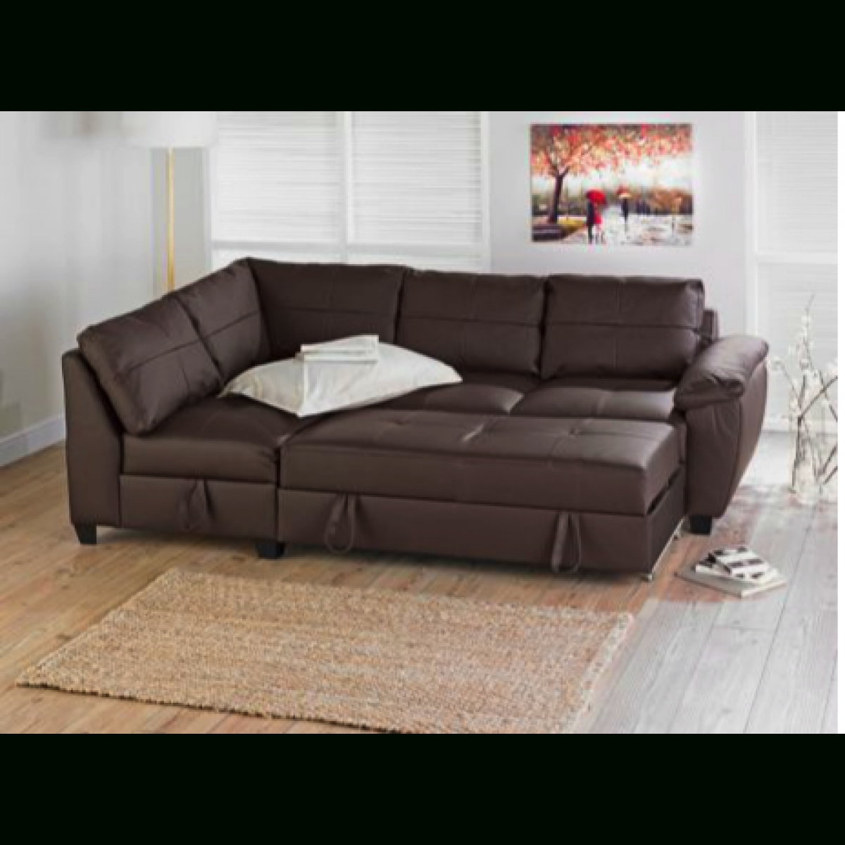 Fernando Leather Left Hand Sofa Bed Corner Group - Chocolate throughout Leather Corner Sofa Bed (Image 14 of 30)