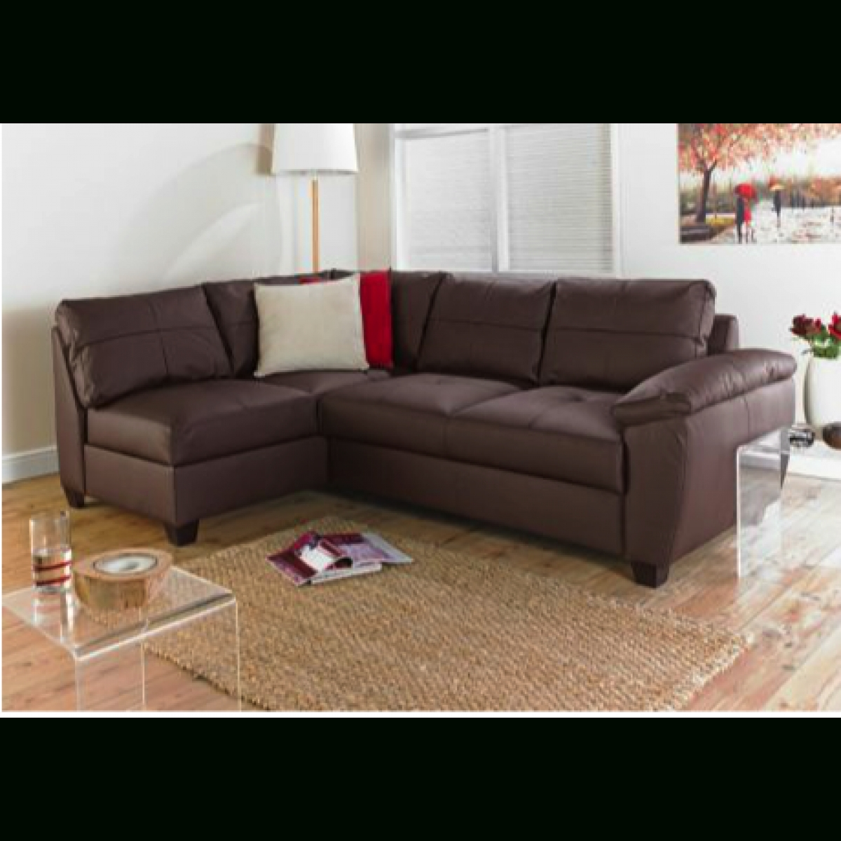 Fernando Leather Left Hand Sofa Bed Corner Group - Chocolate with Leather Corner Sofa Bed (Image 15 of 30)