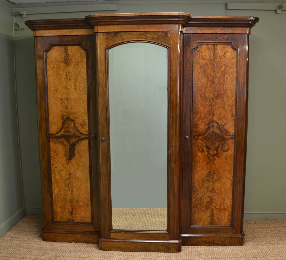 Figured Walnut, Antique Victorian, Large Break Fronted Triple pertaining to Large Antique Wardrobes (Image 7 of 15)