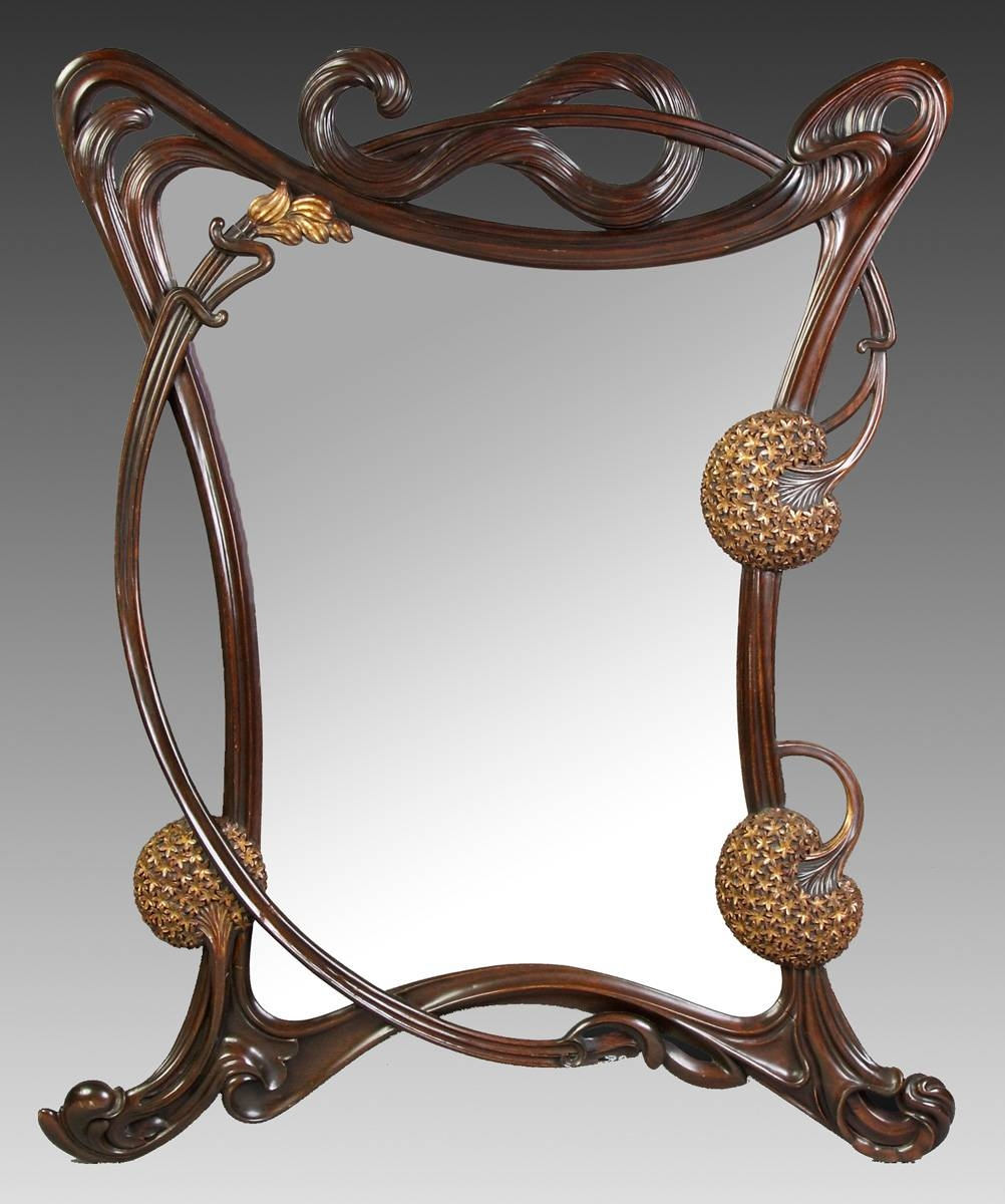 Fine Art Nouveau Carved Mahogany & Gilded Wall Mirror | Cottone with Art Nouveau Mirrors (Image 15 of 25)