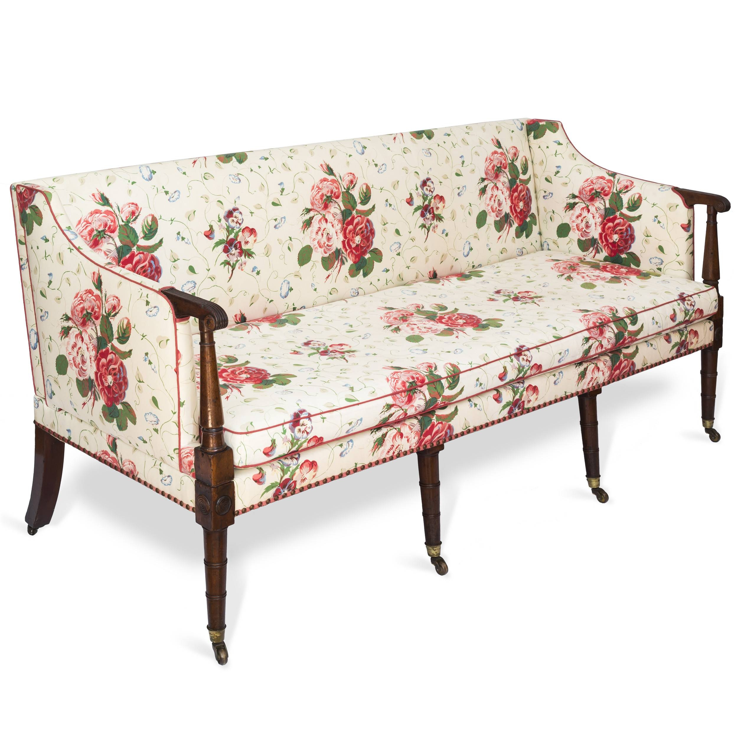 Fine George Iii Three Seater Mahogany Sofa Settee In Colefax in Chintz Sofas And Chairs (Image 19 of 25)
