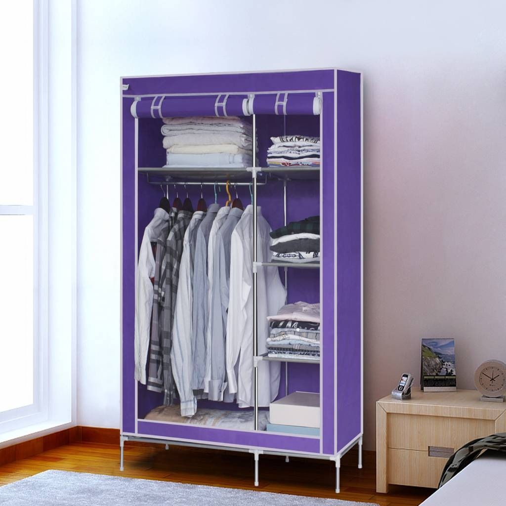 Finether Double Canvas Wardrobe Clothes Hanging Rail Shelves intended for Double Rail Canvas Wardrobes (Image 15 of 30)
