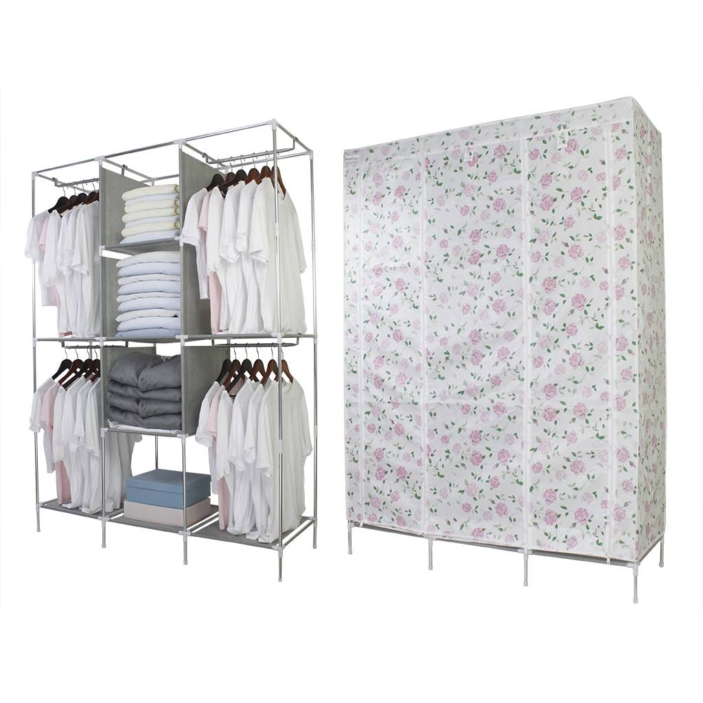 Finether Double Modular Metal Framed Fabric Wardrobe-Floral Print with Double Black Covered Tidy Rail Wardrobes (Image 14 of 30)