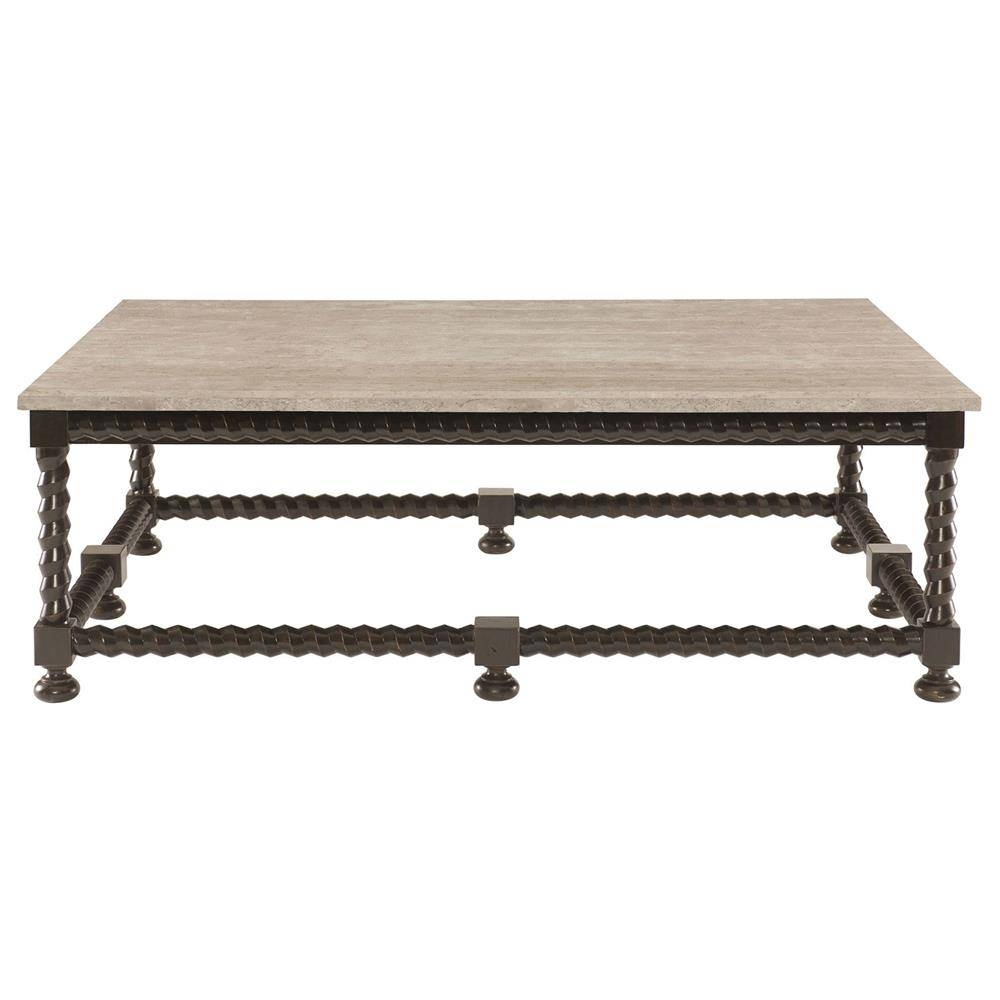 Fiori French Country Barley Twist Ebony Coffee Table | Kathy Kuo Home In Country French Coffee Tables (View 15 of 30)