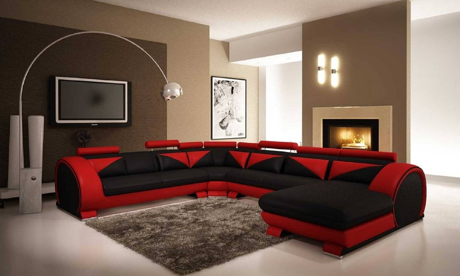 Firestone Red Black 2 Tone Bonded Leather Furniture Sofa Living with Sofa Red and Black (Image 11 of 25)