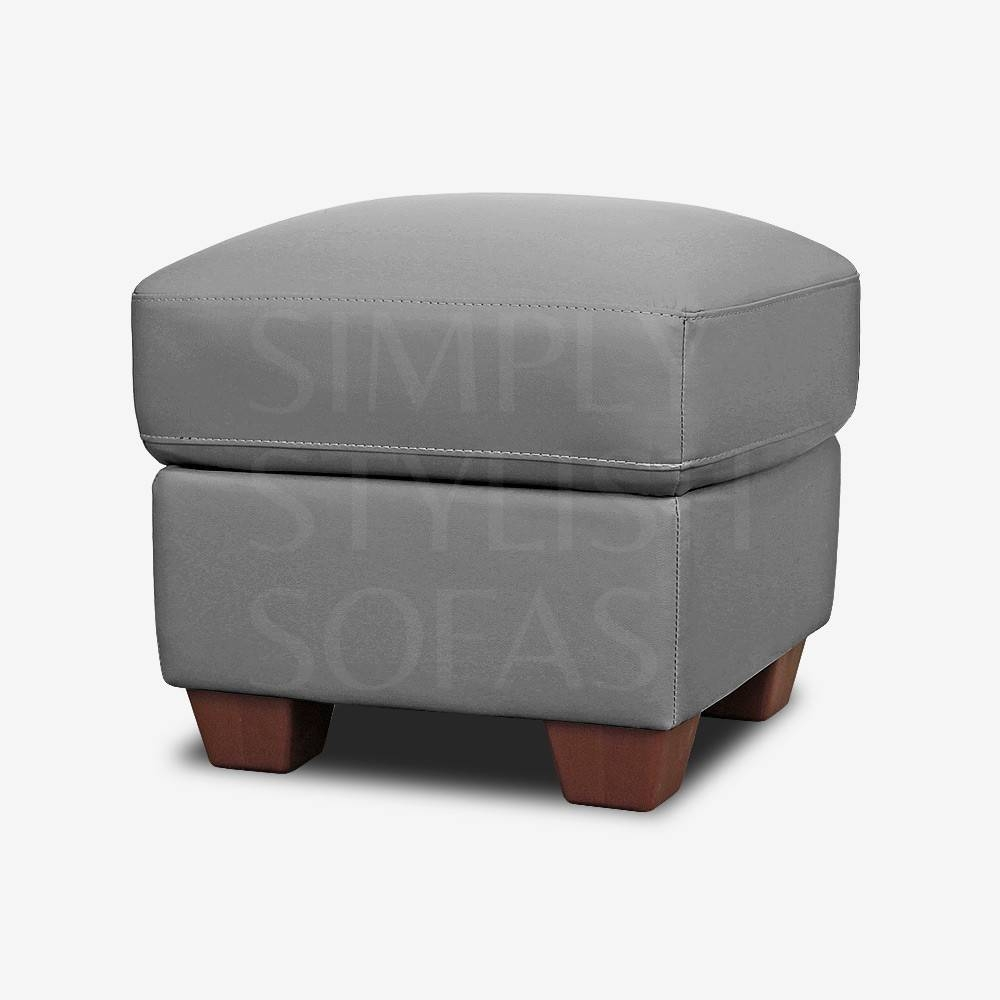 Fisherwick Slate Grey Leather Footstool Storage Ottoman throughout Leather Footstools (Image 8 of 30)