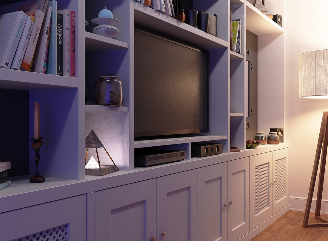 Fitted Bookcase Around Tv Unit, Chelsea for Built In Wardrobes With Tv Space (Image 21 of 30)