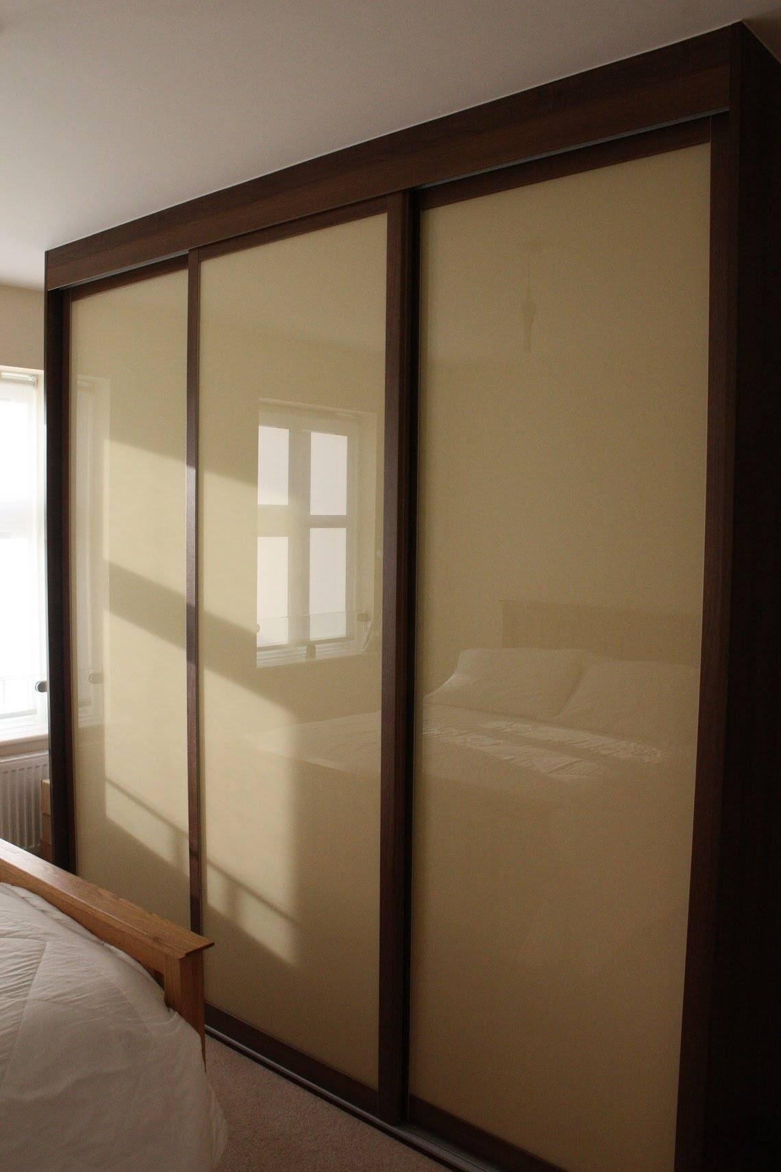 Fitted Sliding Door Wardrobe | Dark Walnut | Light Brown Glass with Dark Wardrobes (Image 12 of 30)