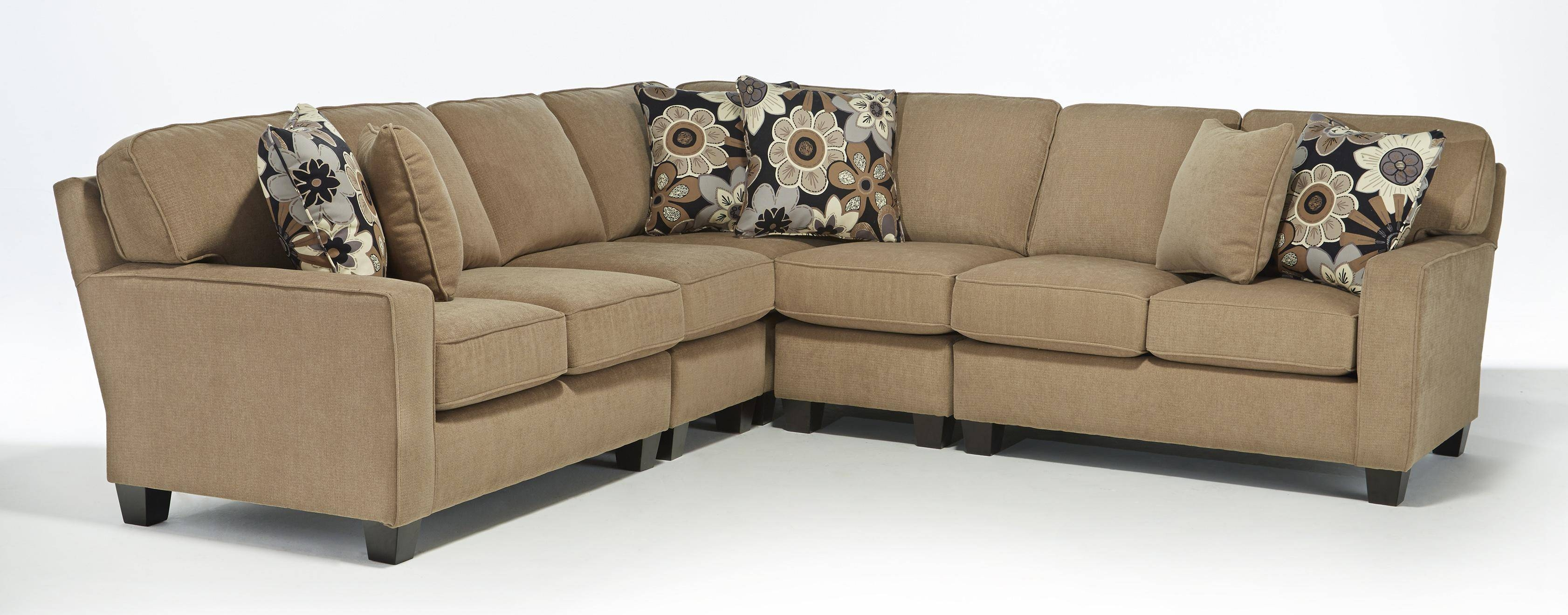 Five Piece Customizable Sectional Sofa With Track Arms And Wood in Custom Made Sectional Sofas (Image 13 of 30)