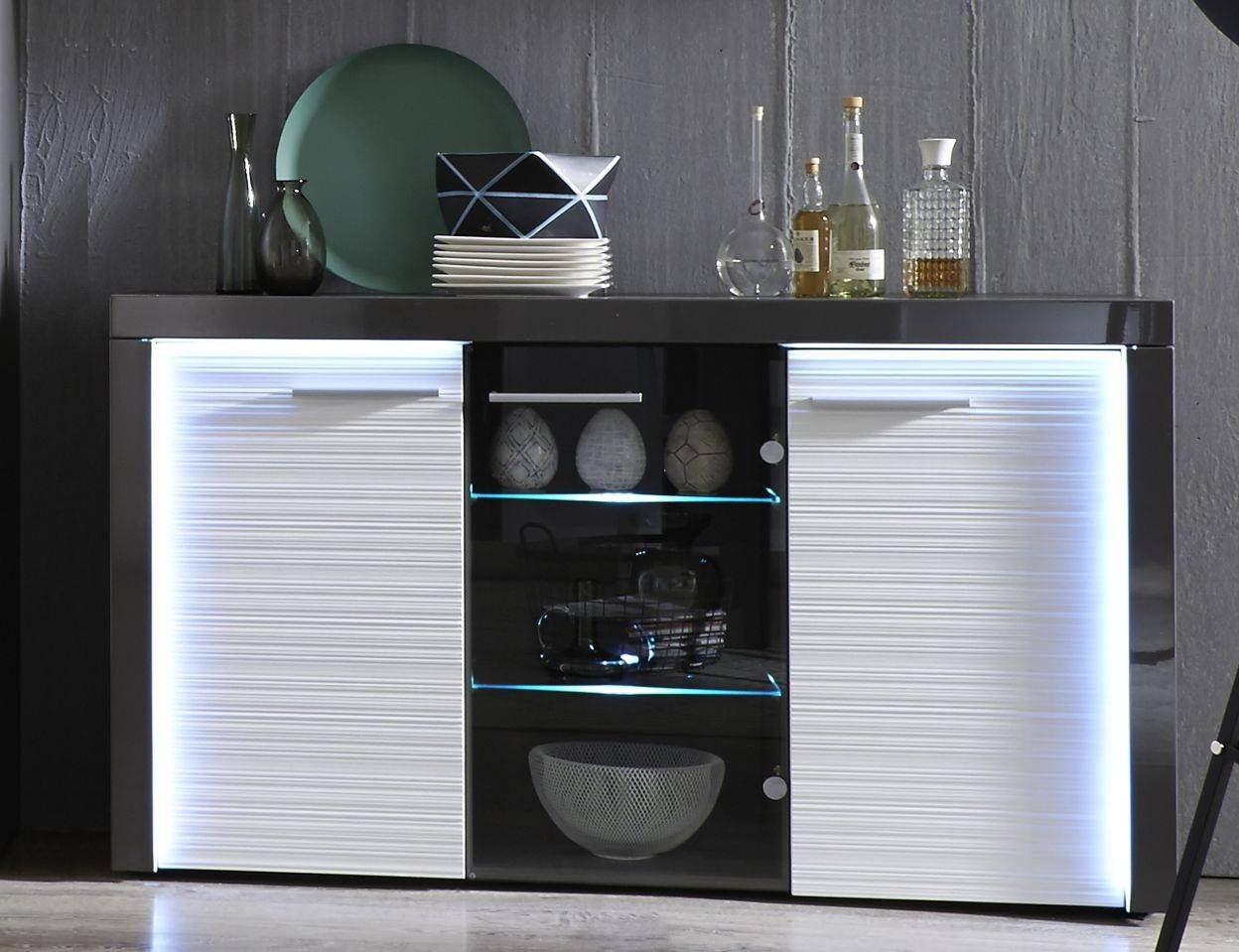 Flamingo -Grey Gloss Display Cabinet With Led Lights - Display intended for Grey Gloss Sideboards (Image 10 of 30)