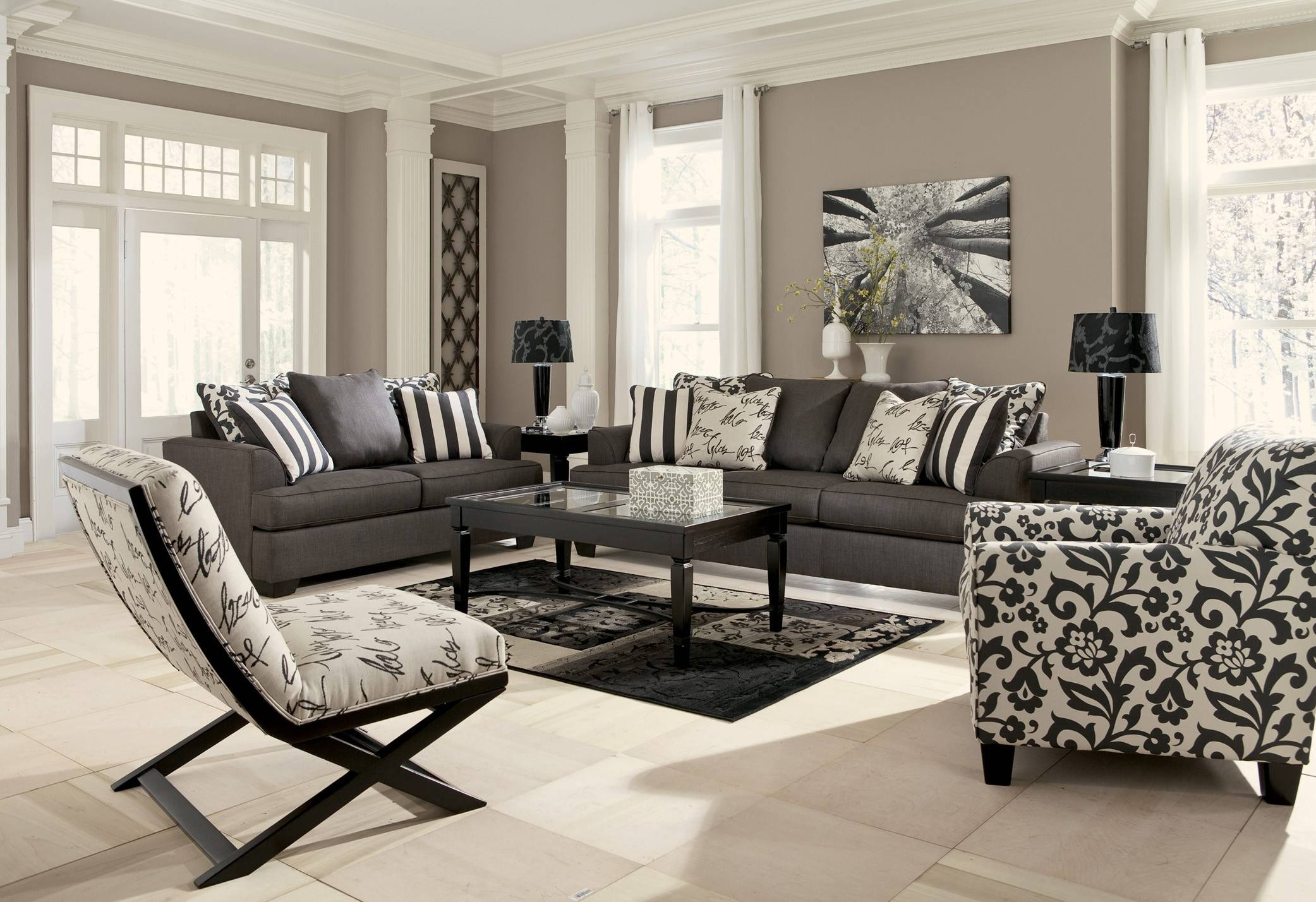 Flannel Gray Living Room Sets - Carameloffers with regard to Sofa and Accent Chair Set (Image 17 of 30)