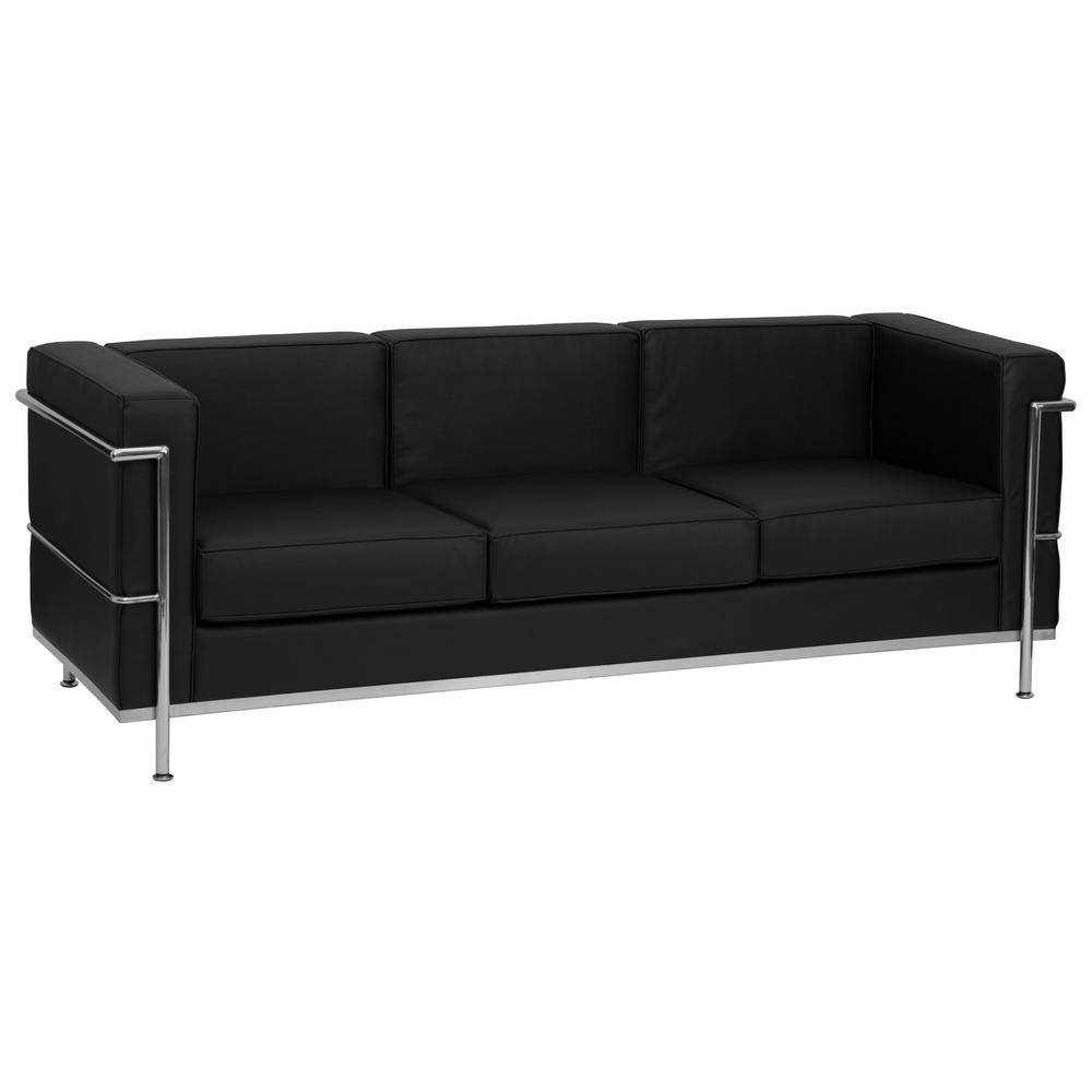 Flash Furniture Hercules Regal Series Contemporary Black Leather regarding Contemporary Black Leather Sofas (Image 12 of 30)