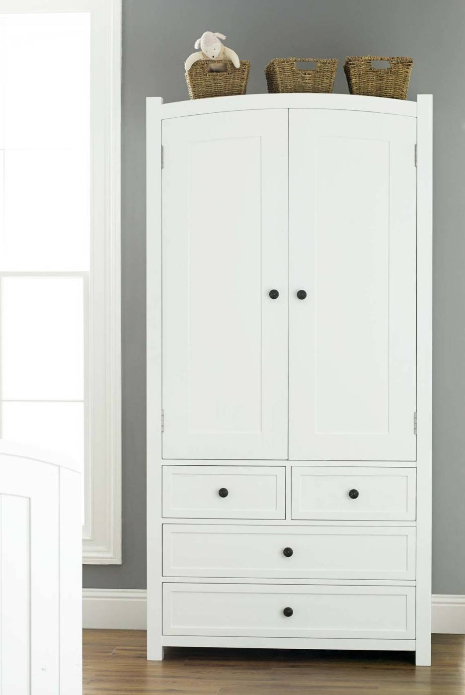 Flawless White Wooden Kids Wardrobe With Drawers And Brown Wicker Inside Cheap Baby Wardrobes (View 17 of 30)