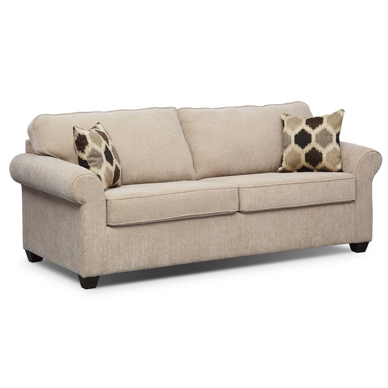 Fletcher Full Innerspring Sleeper Sofa - Beige | Value City Furniture intended for Value City Sofas (Image 5 of 25)