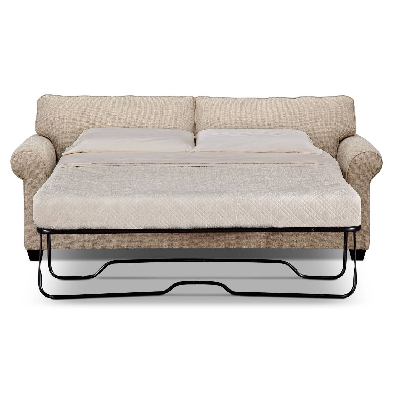 Fletcher Queen Memory Foam Sleeper Sofa - Beige | Value City Furniture in Comfortable Convertible Sofas (Image 7 of 30)