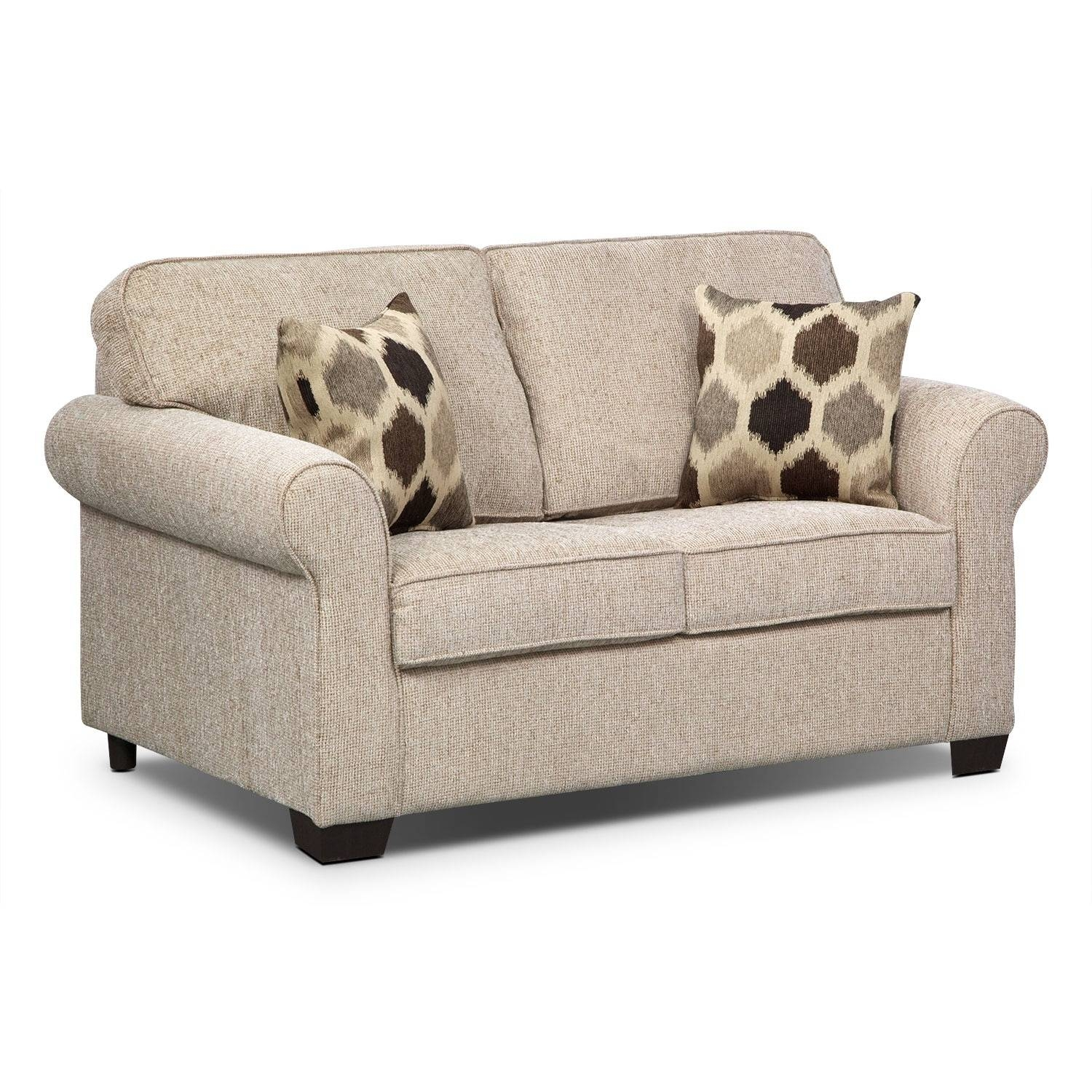 Fletcher Twin Memory Foam Sleeper Sofa - Beige | Value City Furniture in Twin Sleeper Sofa Chairs (Image 5 of 30)