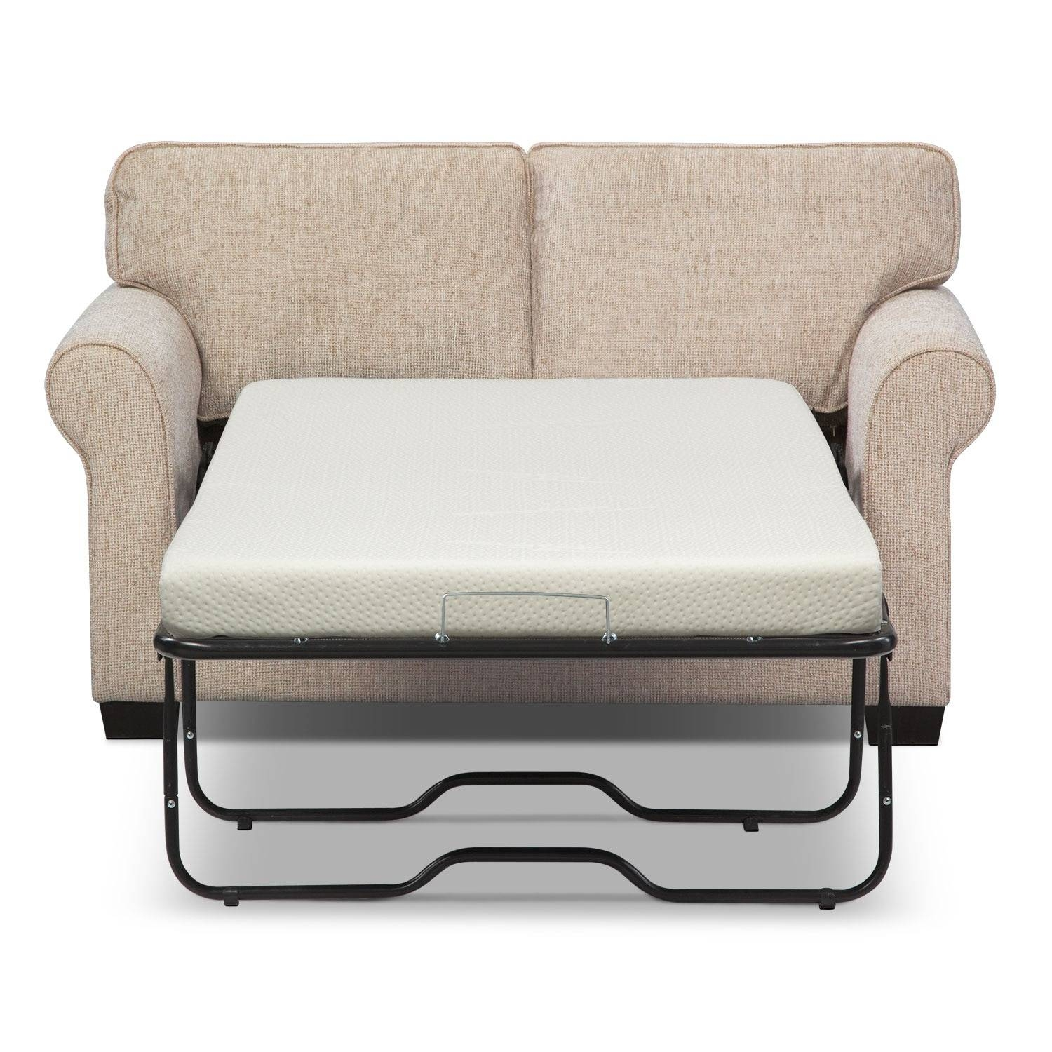Fletcher Twin Memory Foam Sleeper Sofa - Beige | Value City Furniture inside Twin Sleeper Sofa Chairs (Image 6 of 30)