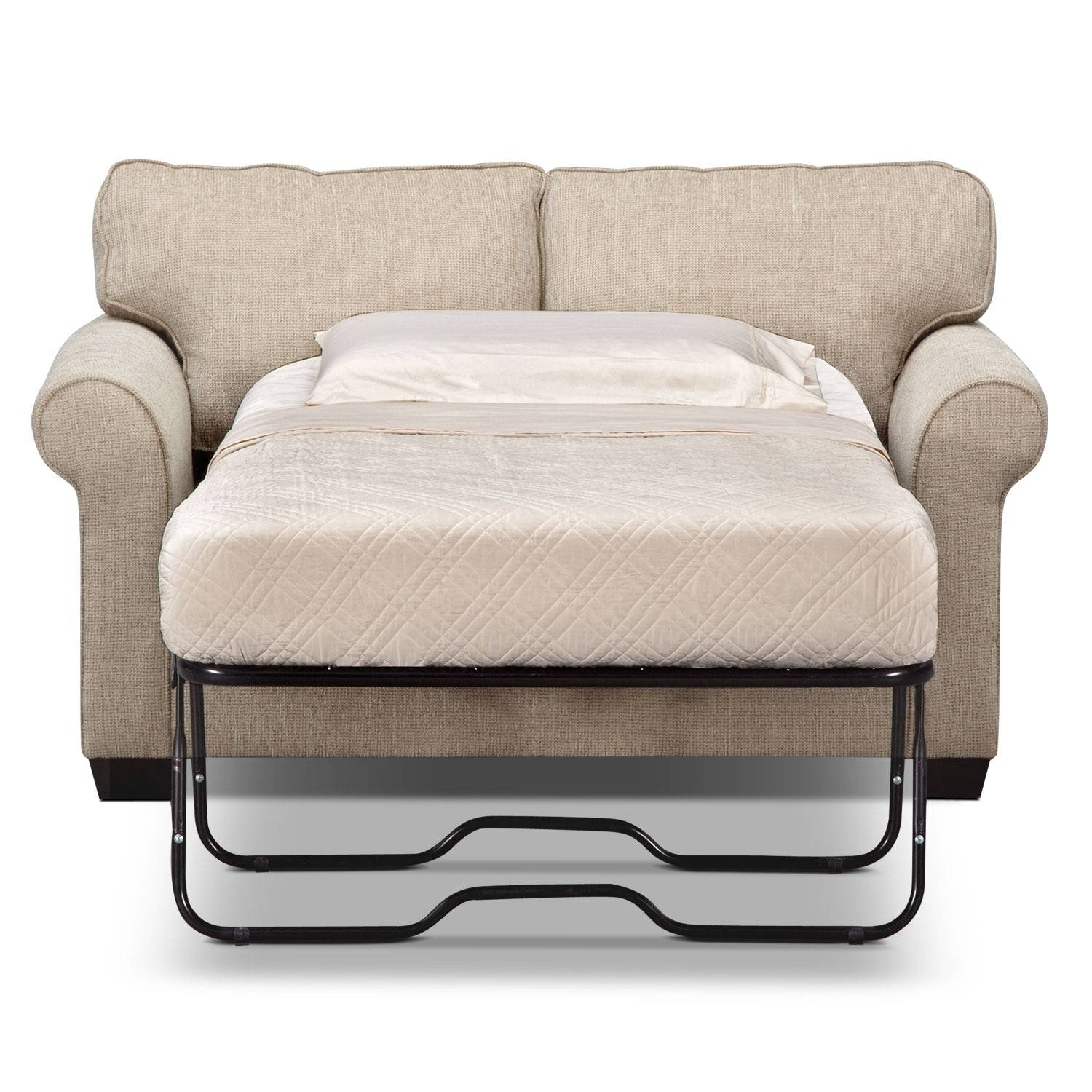 Fletcher Twin Memory Foam Sleeper Sofa - Beige | Value City Furniture pertaining to Twin Sleeper Sofa Chairs (Image 7 of 30)