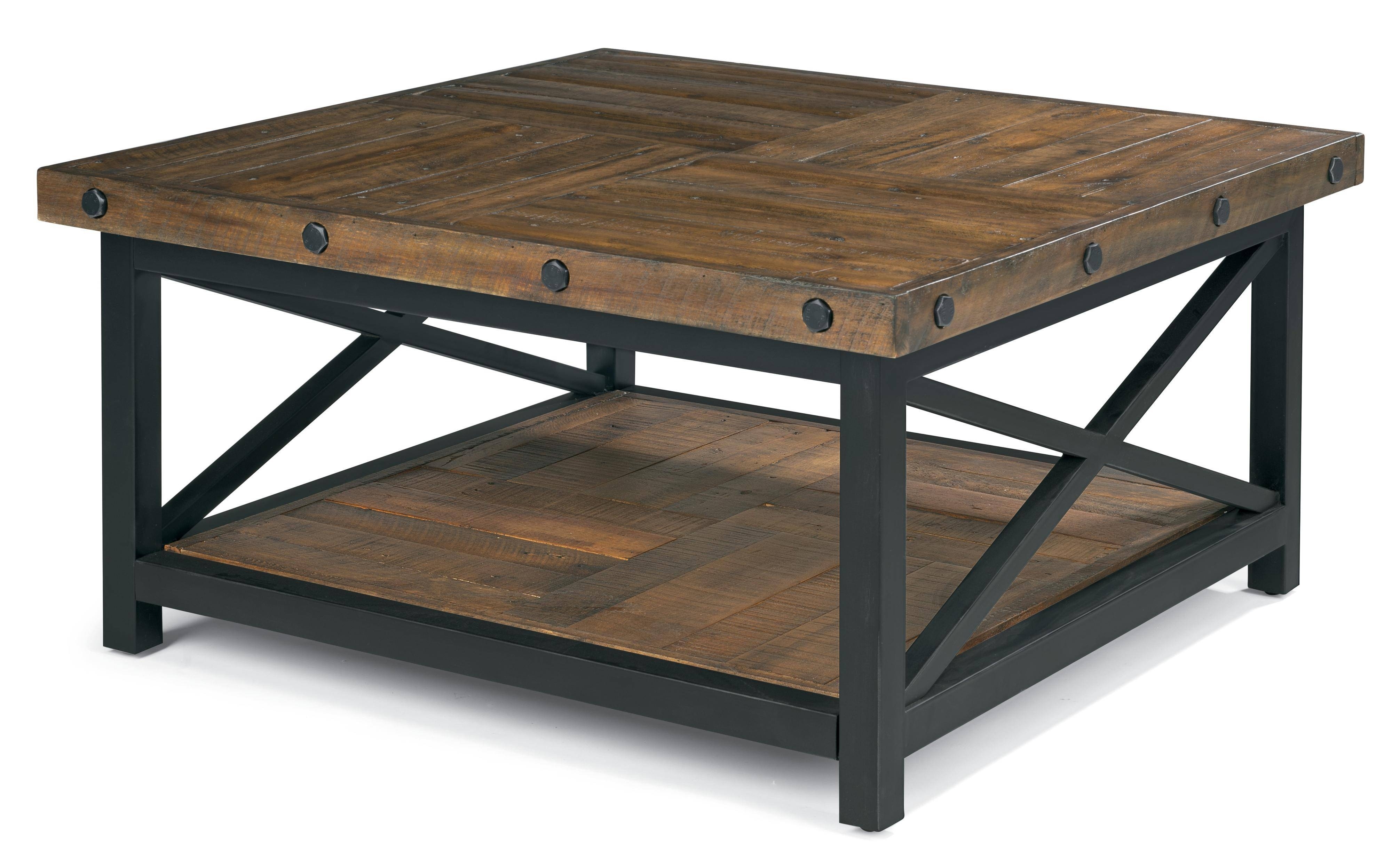 Flexsteel Carpenter Square Cocktail Table With Metal Base And Wood intended for Hardwood Coffee Tables With Storage (Image 13 of 30)