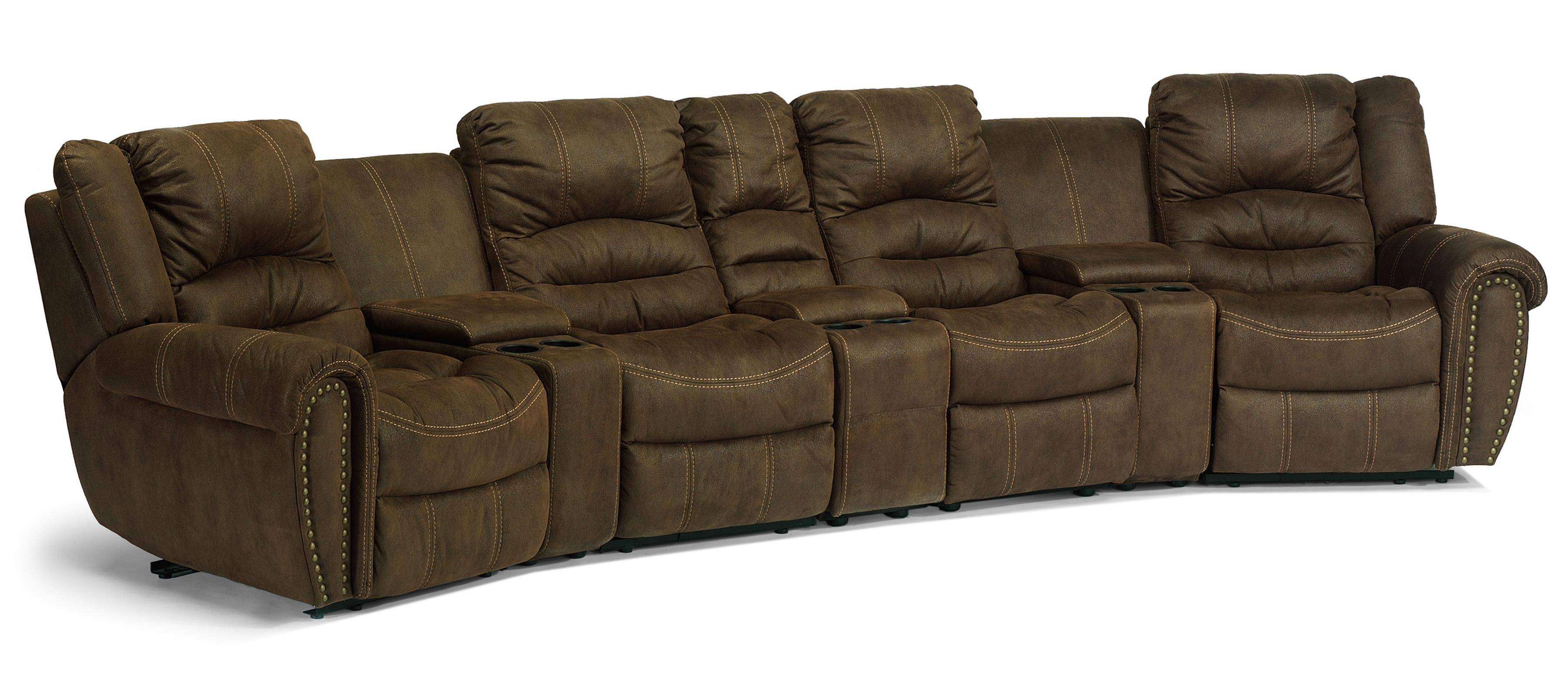 Flexsteel Latitudes - New Town Curved Reclining Sectional Sofa pertaining to Curved Sectional Sofa With Recliner (Image 6 of 30)