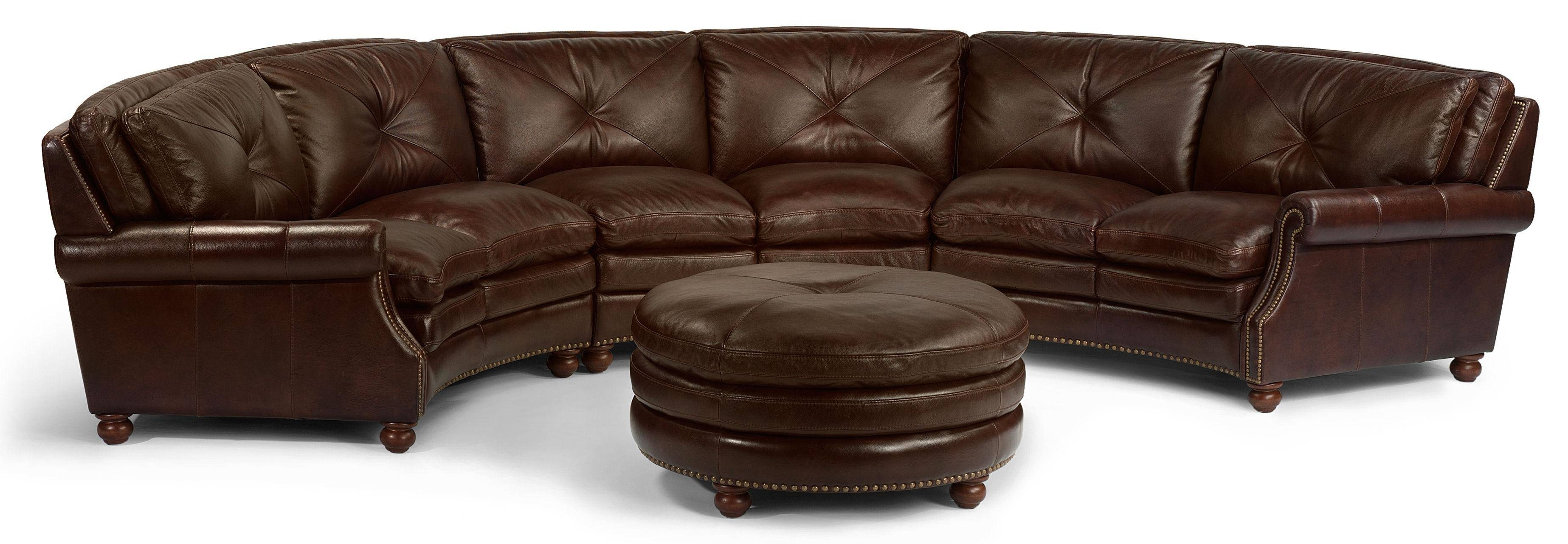Flexsteel Latitudes-Suffolk Round Sectional Sofa With Nailhead inside Circular Sectional Sofa (Image 10 of 30)