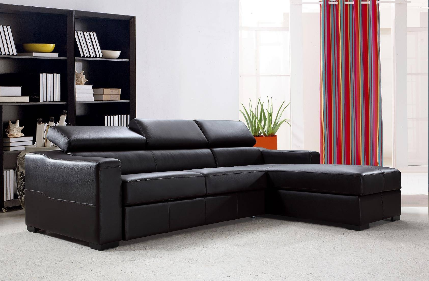 Flip Reversible Espresso Leather Sectional Sofa Bed W/ Storage For Sectional Sofa Bed With Storage (View 6 of 25)