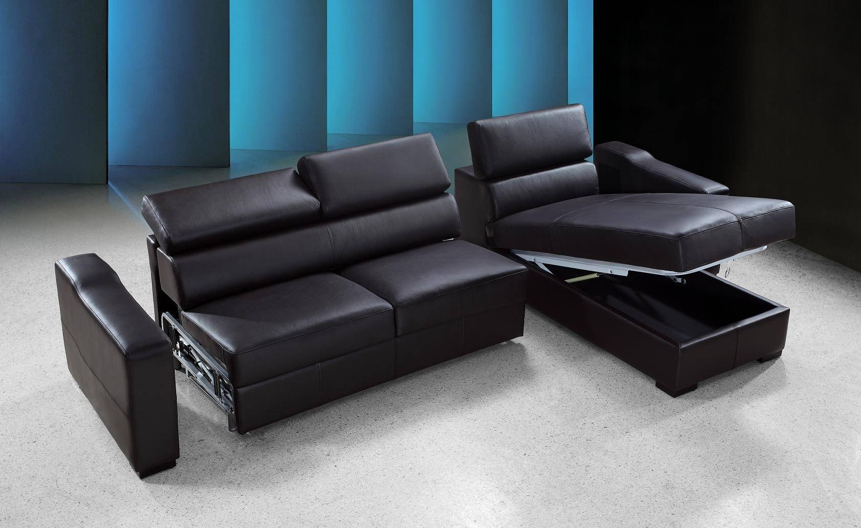 Flip Reversible Espresso Leather Sectional Sofa Bed W/ Storage With Regard To Sectional Sofa Bed With Storage (View 8 of 25)